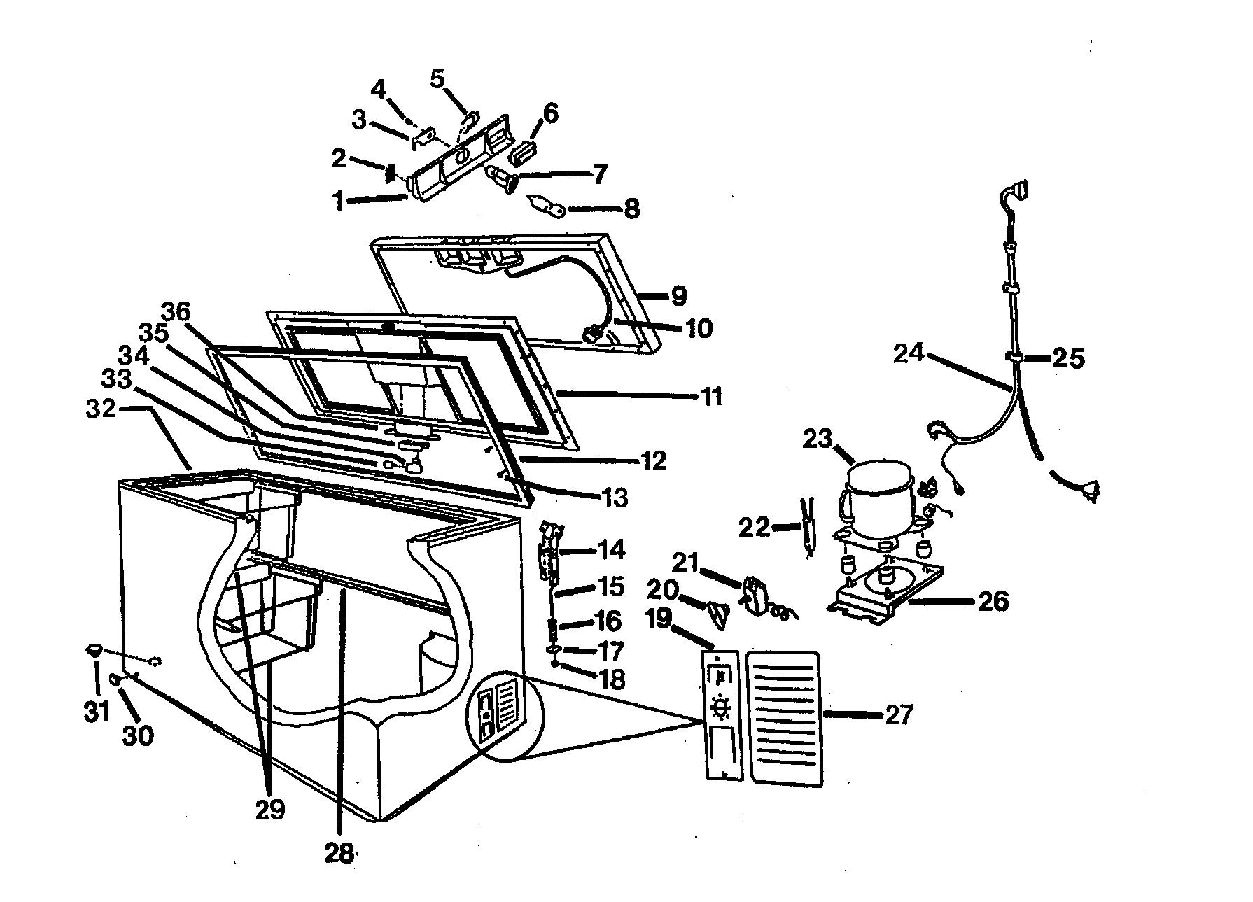 Wc-Wood model LCH0701PW chest freezer genuine parts