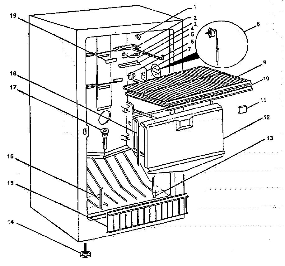 Wc-Wood model F20NAC upright freezer genuine parts