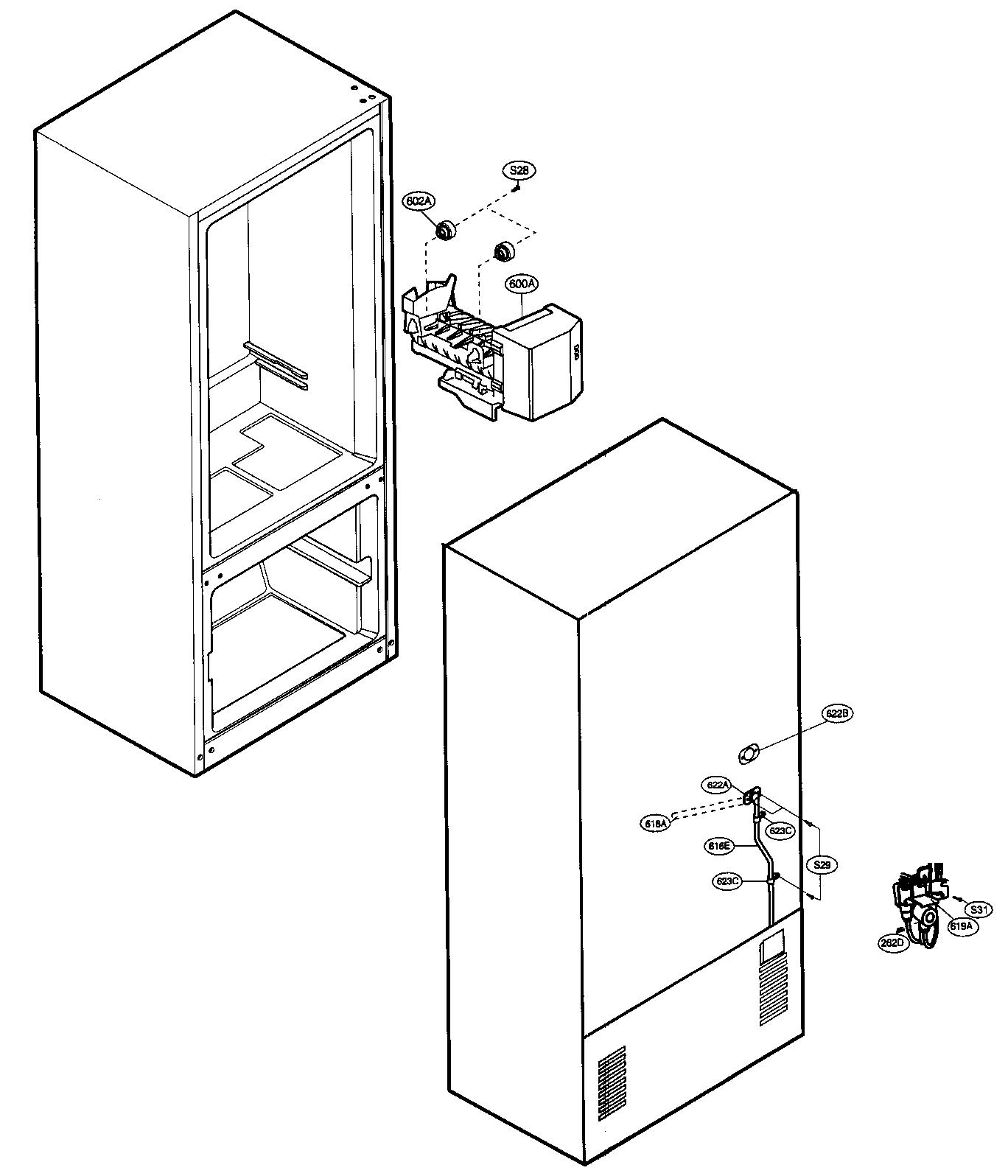 Lg model LRBC20512WW bottom-mount refrigerator genuine parts