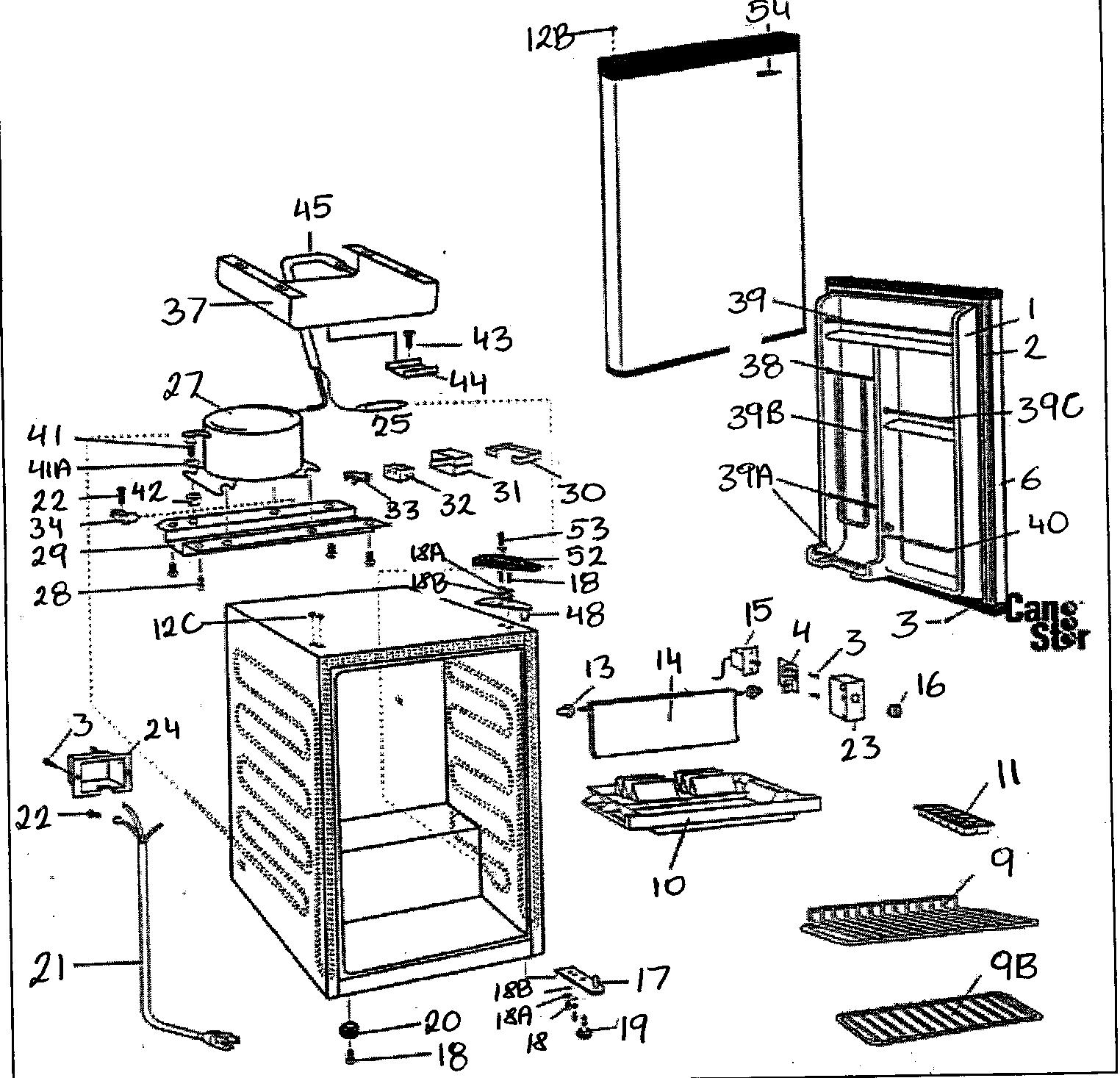 Danby model DCR412BL under counter refrigerator genuine parts