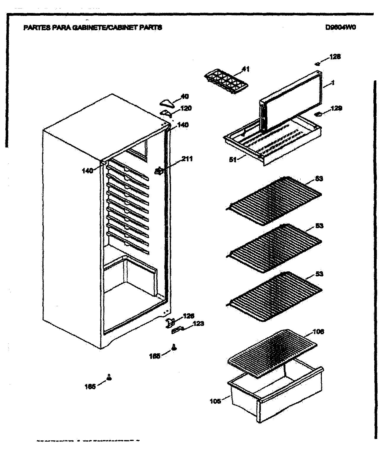 Danby model D9604W all refrigerator genuine parts