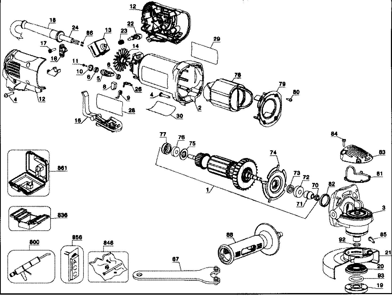 Dewalt model D28402K TYPE 1 grinder angle genuine parts