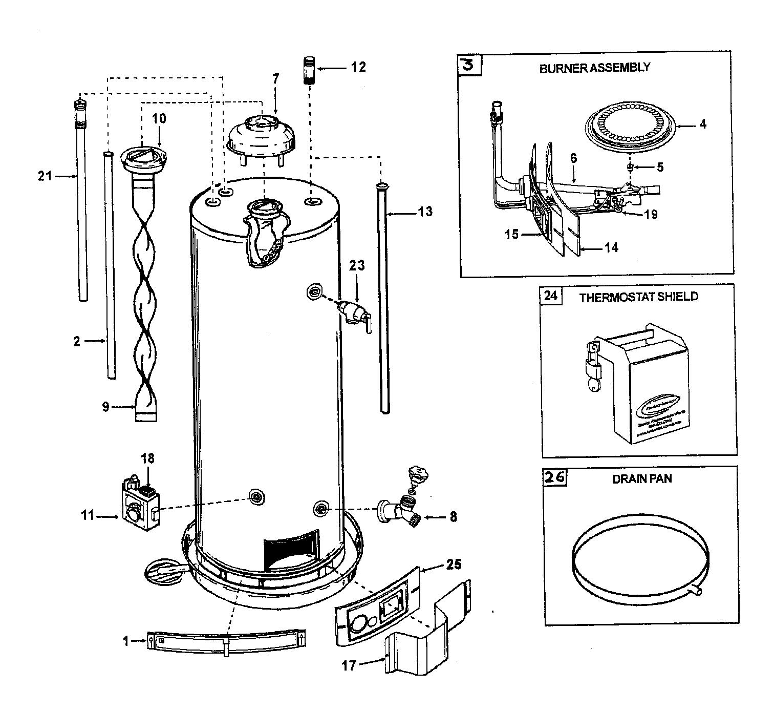 Ao-Smith model GCV50 water heater, gas genuine parts
