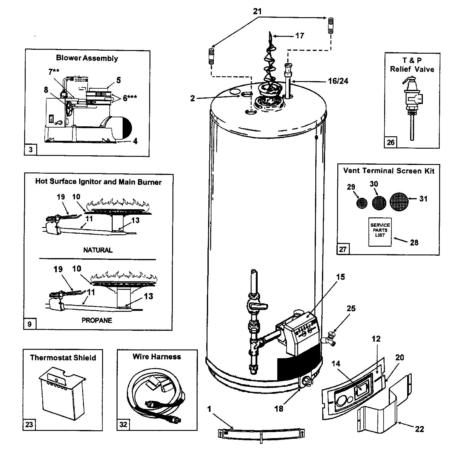 Ao-Smith model GPVH50100 water heater, gas genuine parts