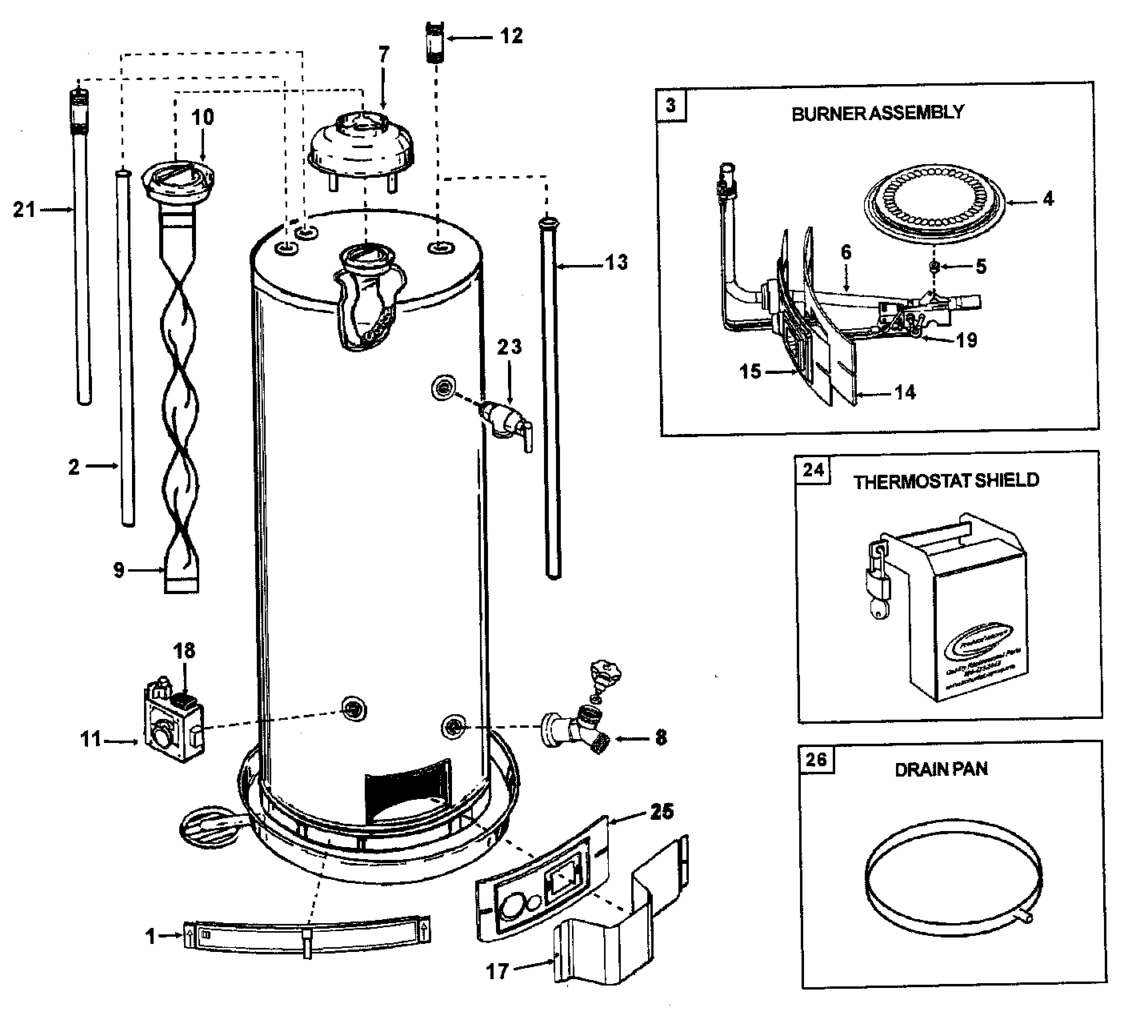 Ao-Smith model GVR40 water heater, gas genuine parts