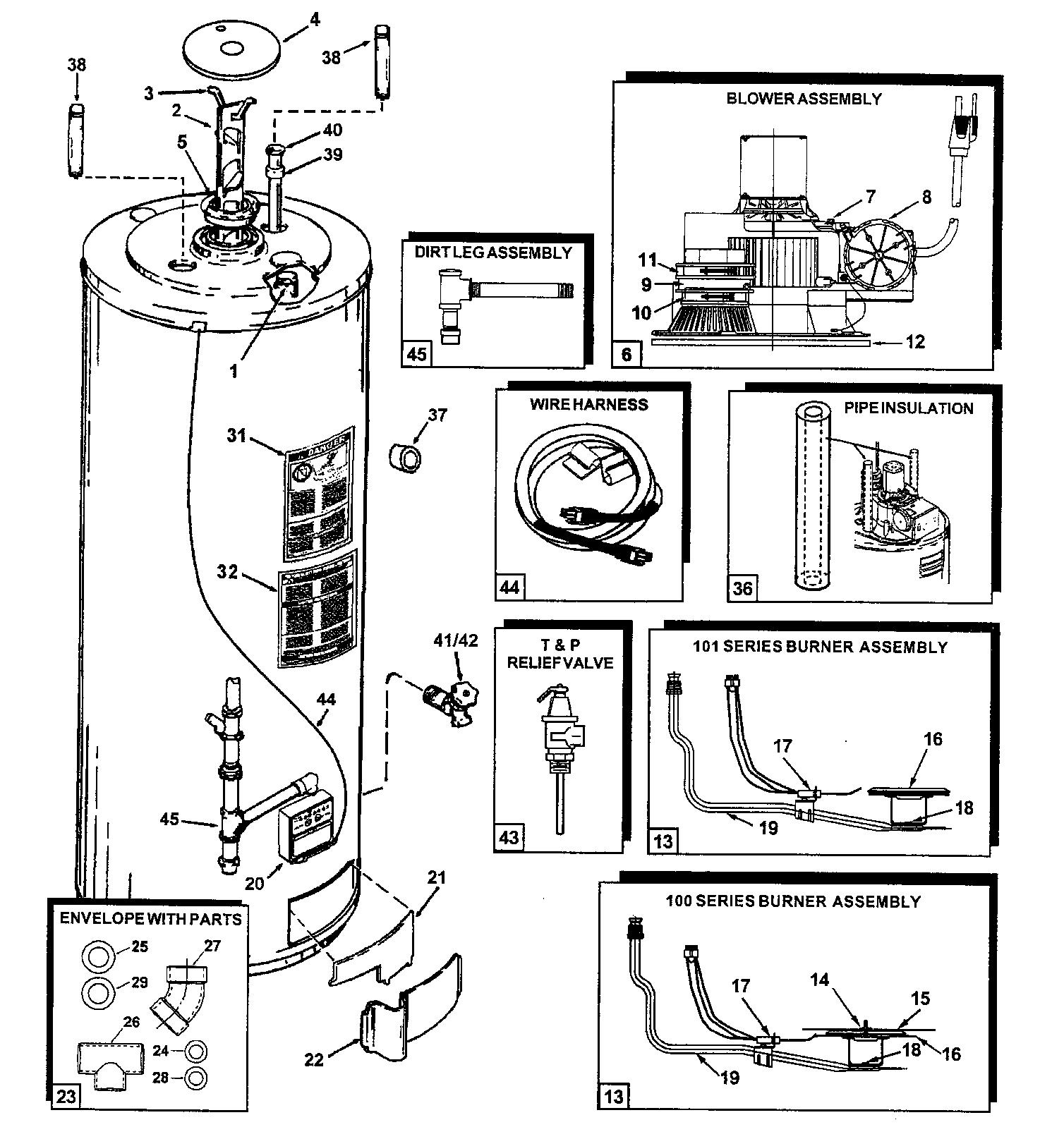 Ao-Smith model GPCR50100 water heater, gas genuine parts