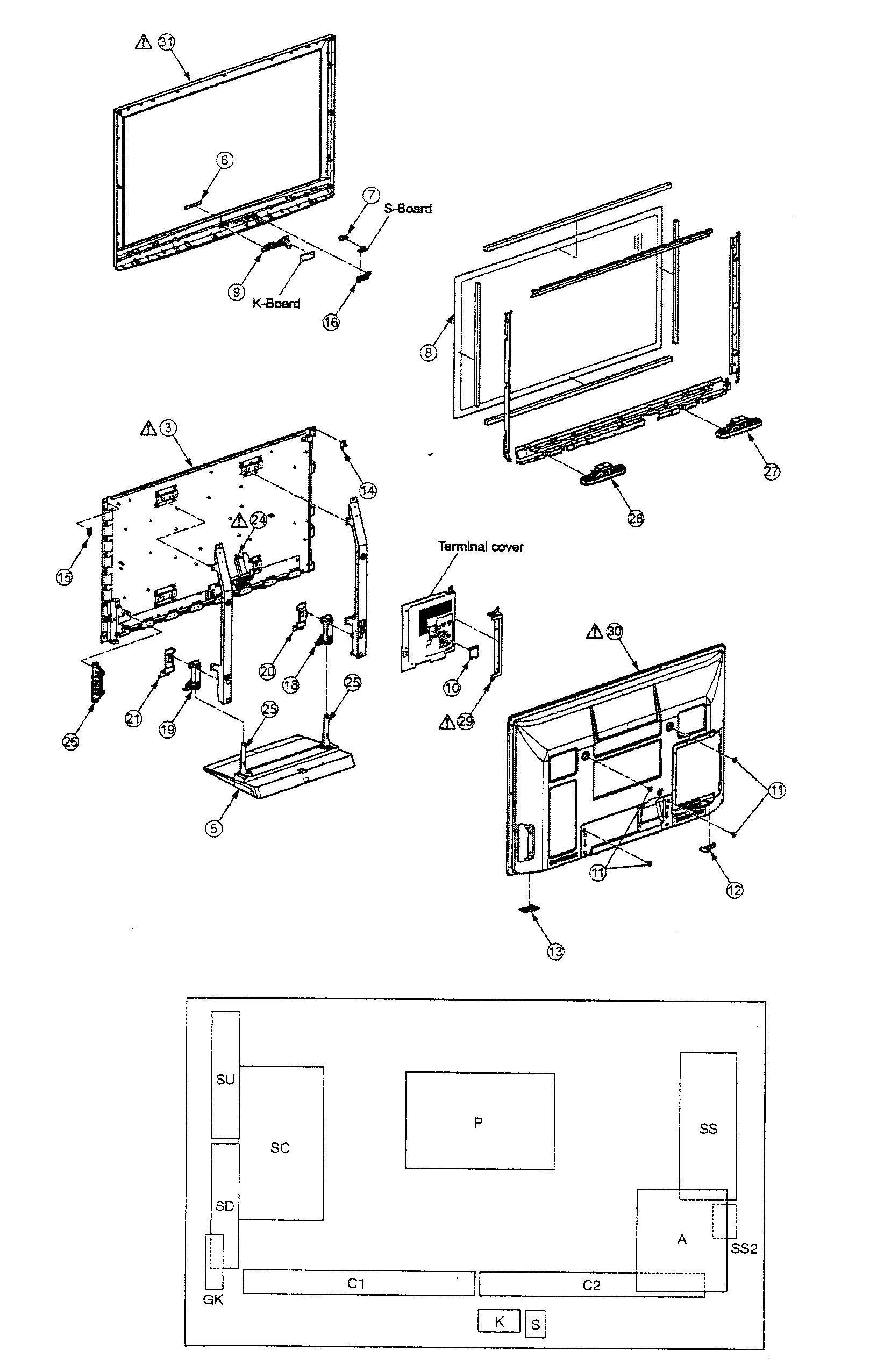 Panasonic model TC-P42X1 plasma television genuine parts