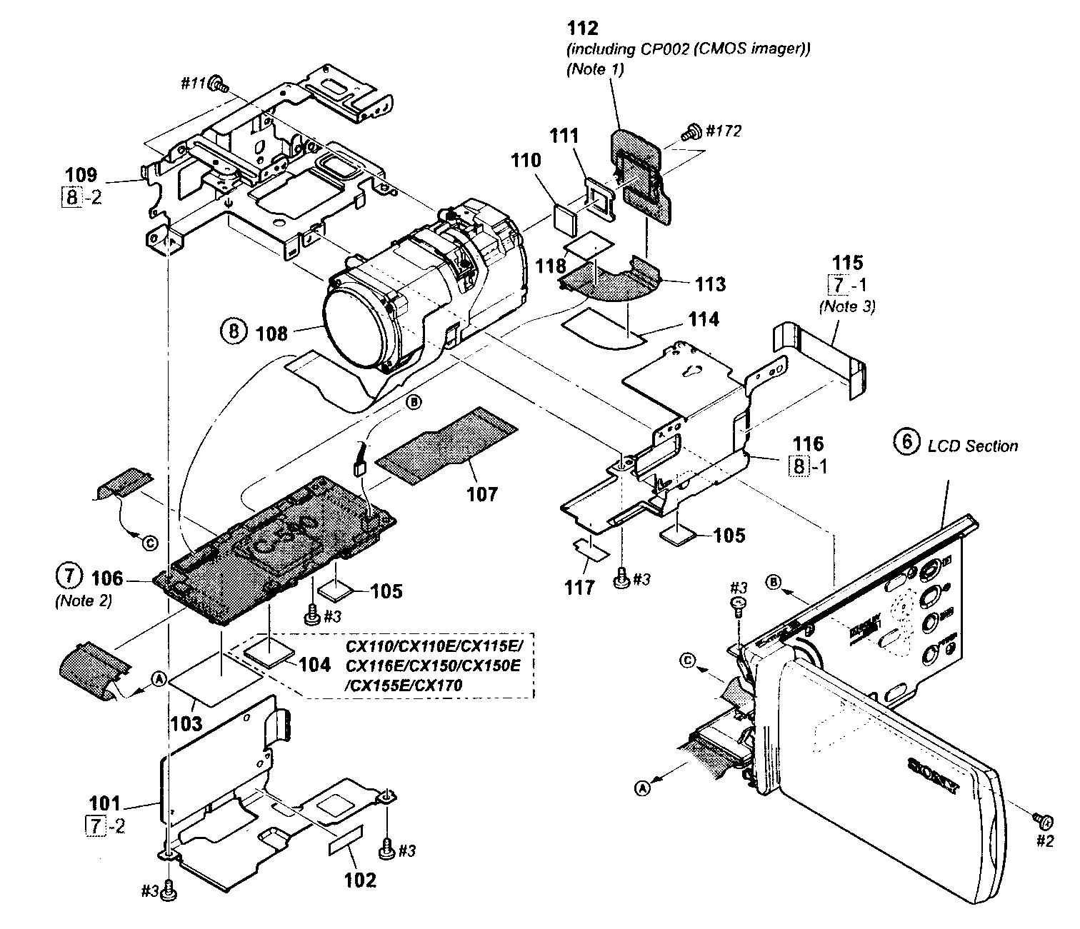 Sony model HDR-CX110 digital camcorder genuine parts
