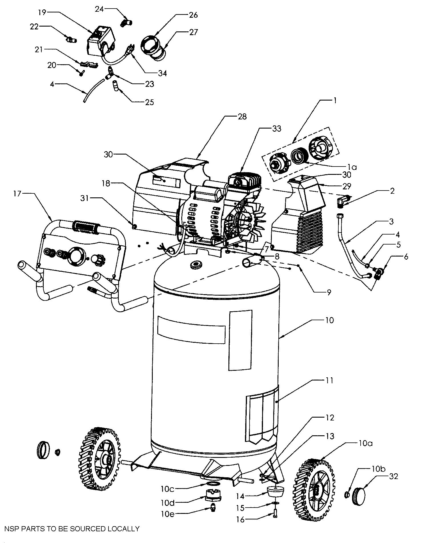 Craftsman model 92116472 air compressor genuine parts