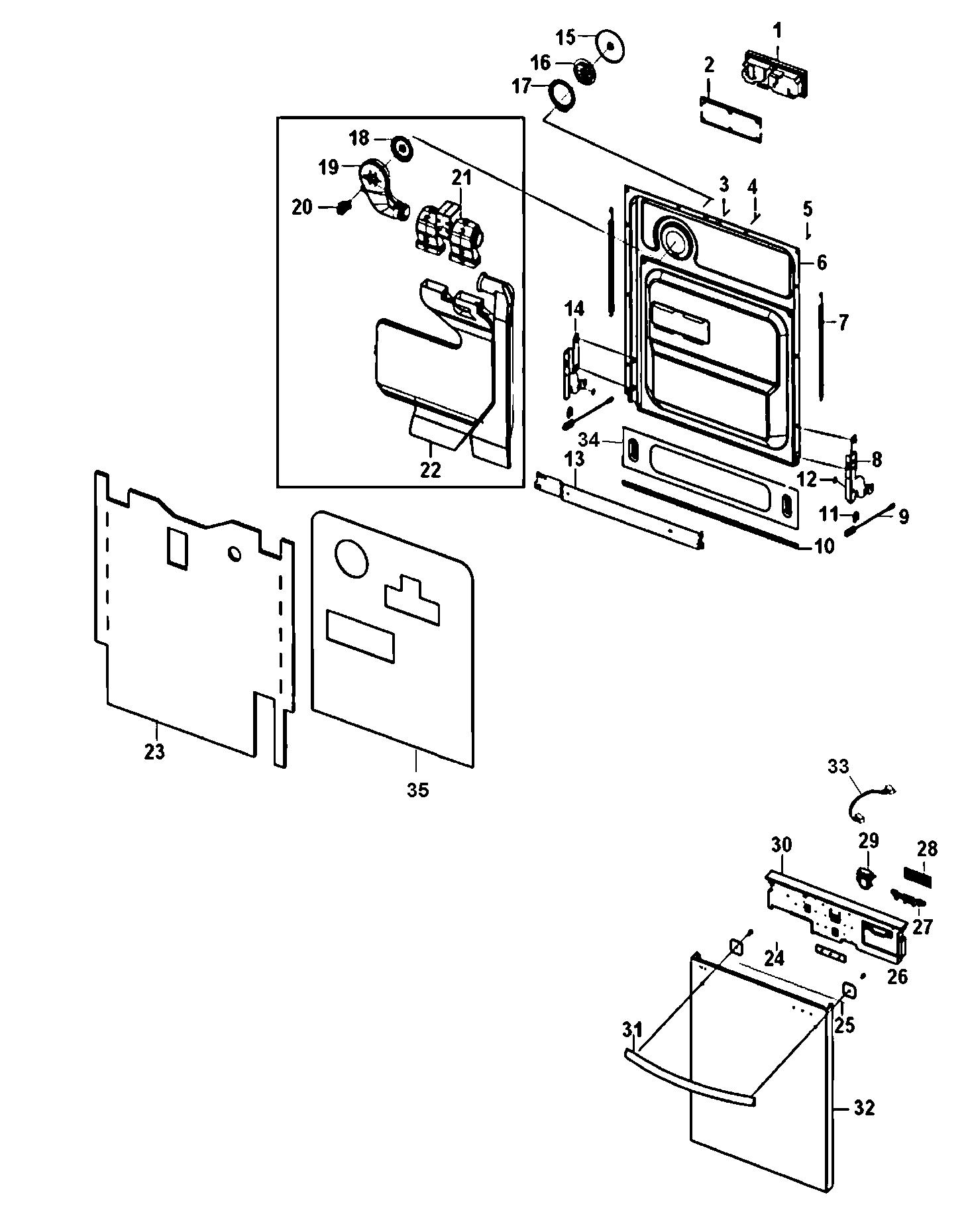 Samsung model DMT400RHS/XAA dishwasher genuine parts