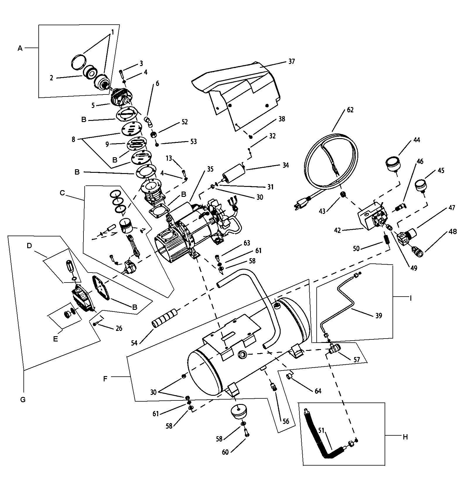 Craftsman model 921153101 air compressor genuine parts