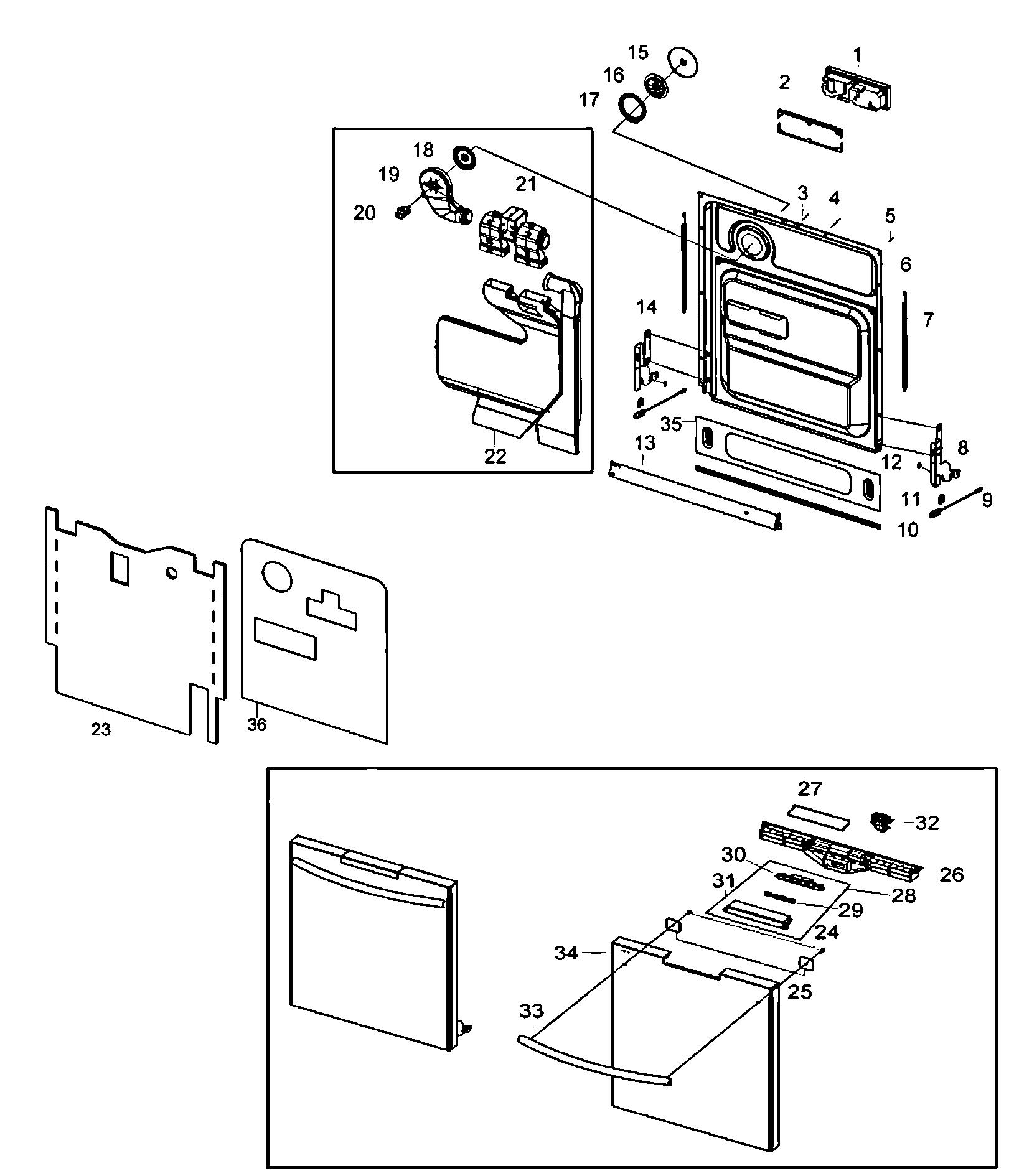 Samsung model DMT800RHS/XAA dishwasher genuine parts