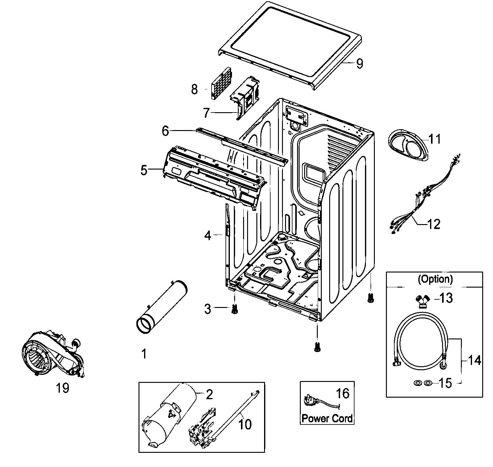 Samsung model DV410AGW/XAA residential dryer genuine parts
