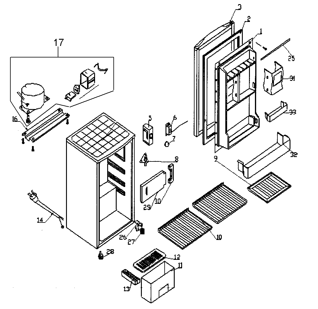 Kenmore model 25594683 under counter refrigerator genuine
