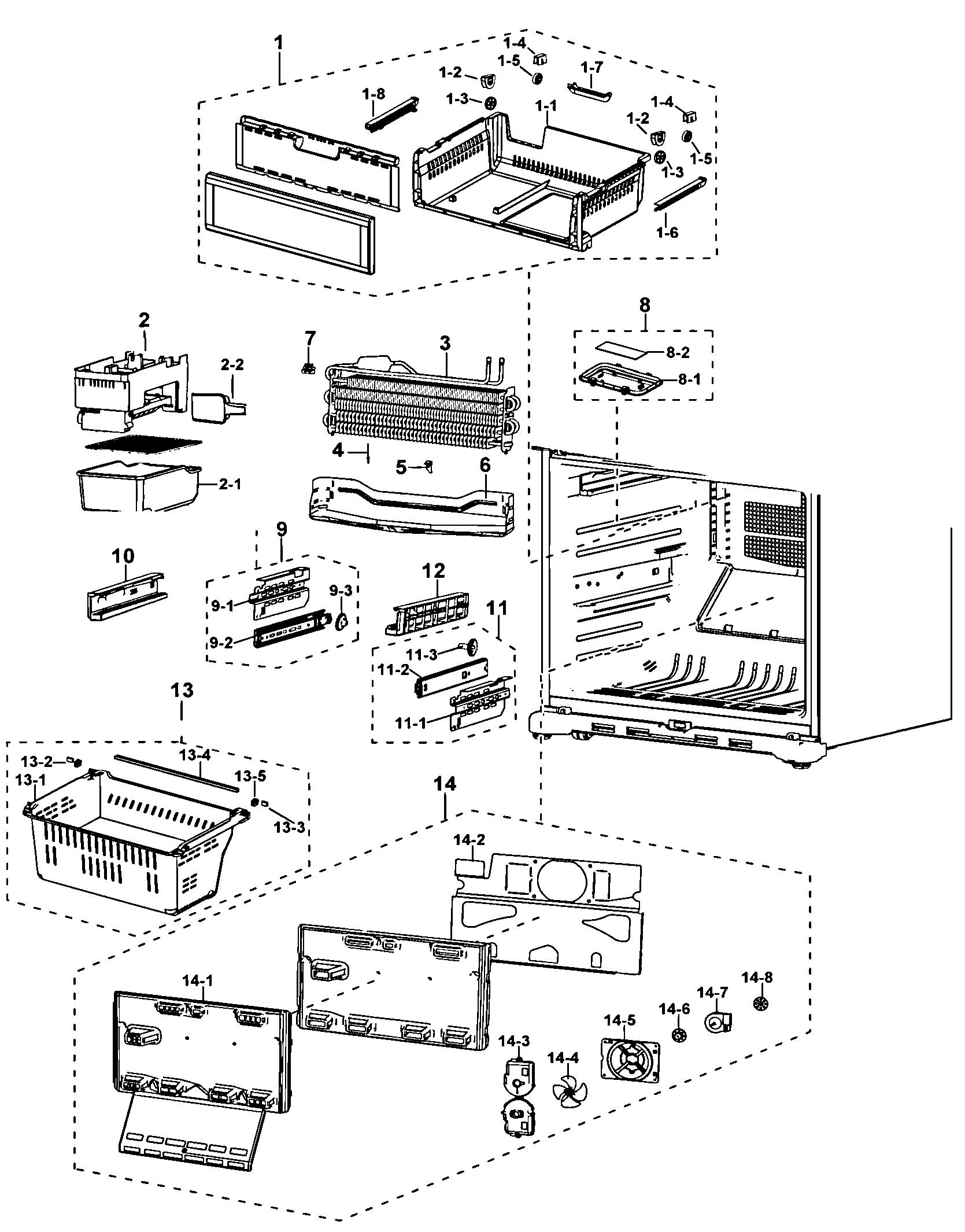 Samsung model RF197ACRS/XAA-00 bottom-mount refrigerator