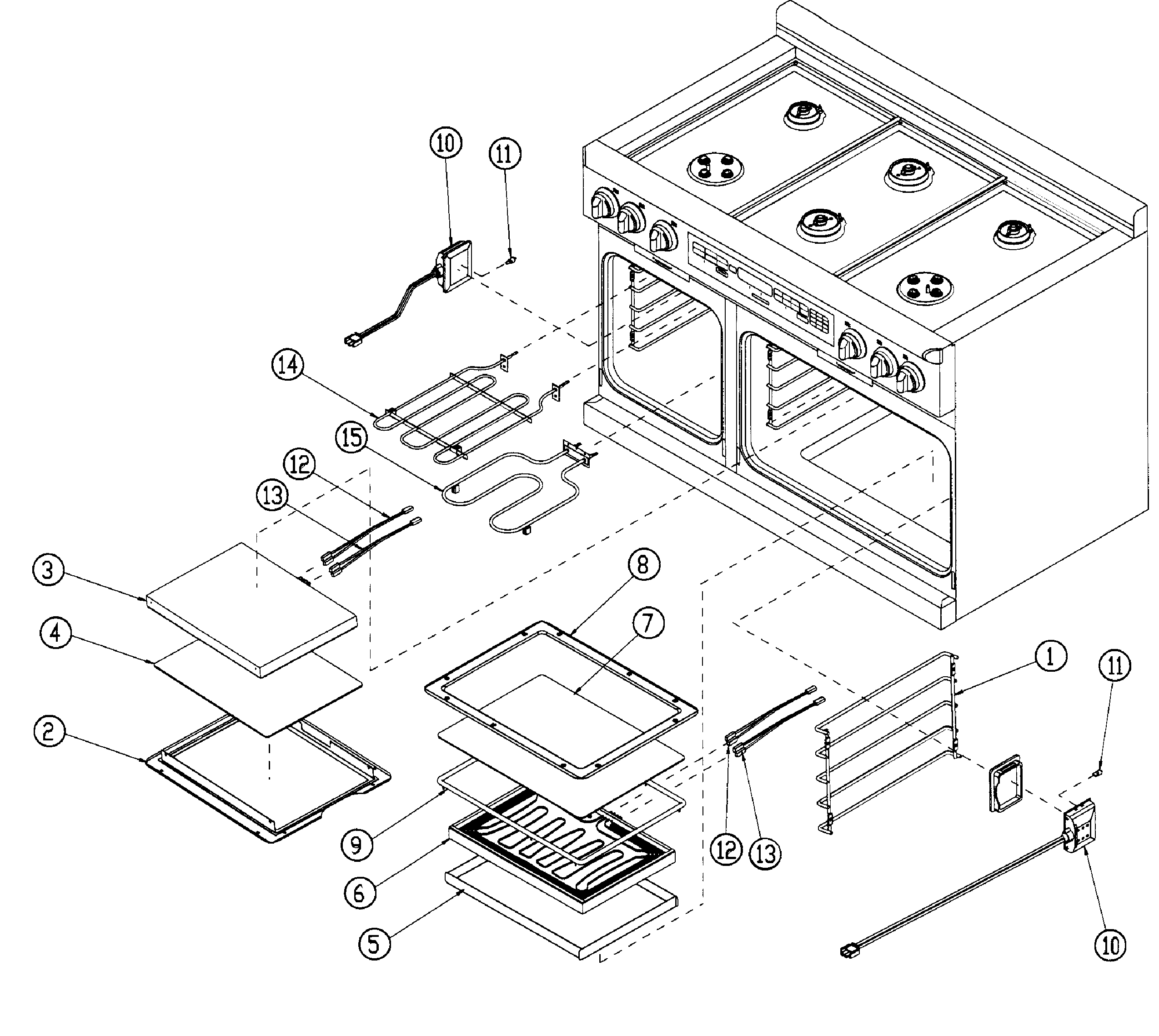 Dacor model ER48DSCHNG range, electric/gas genuine parts