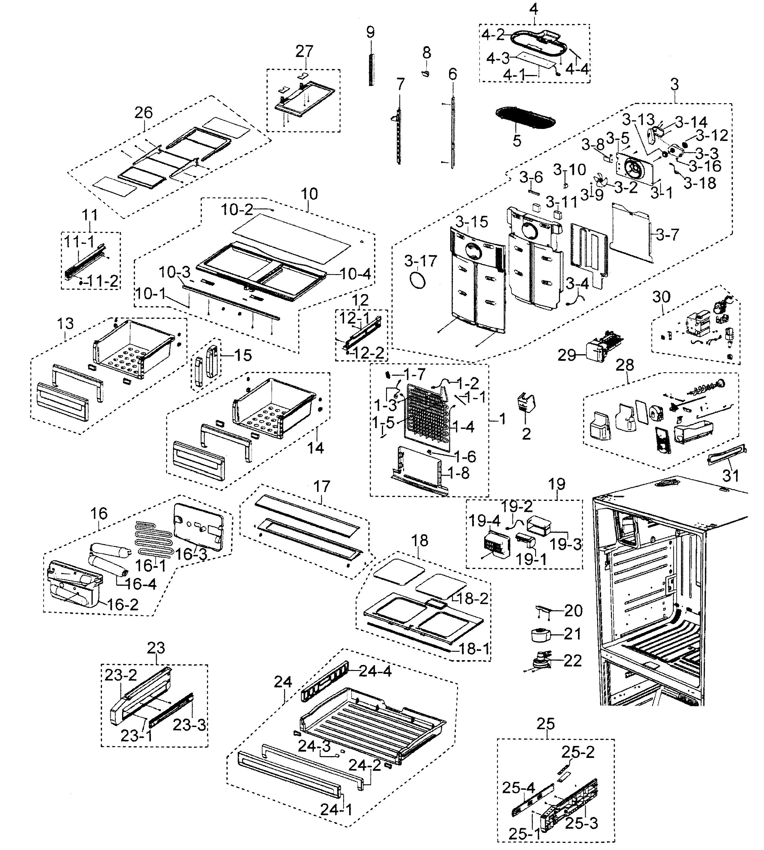 Samsung model RFG298AARS/XAA bottom-mount refrigerator
