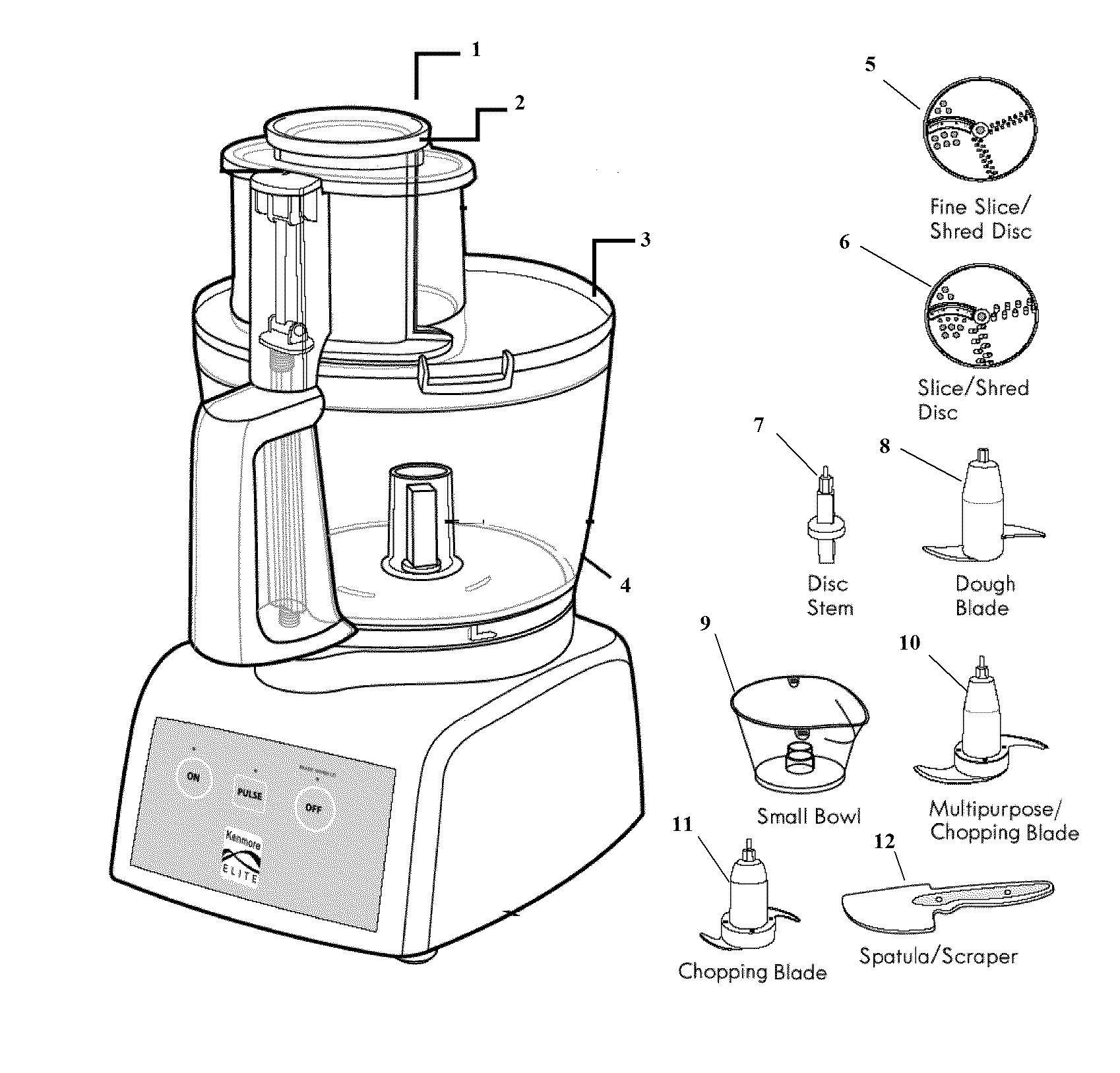 Kenmore-Elite model 10006912 food processor genuine parts