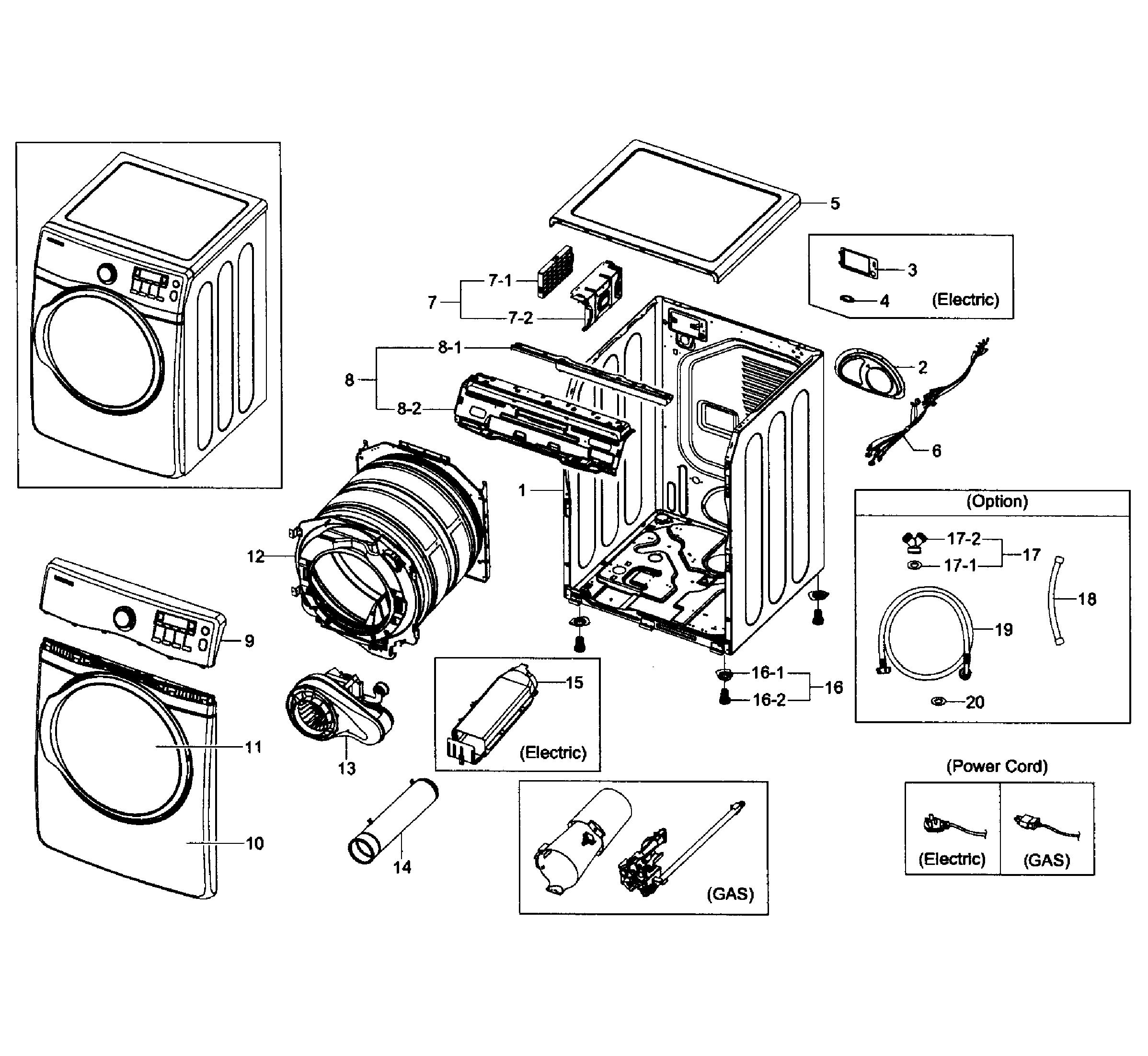 Samsung model DV431AEW/XAA-01 residential dryer genuine parts