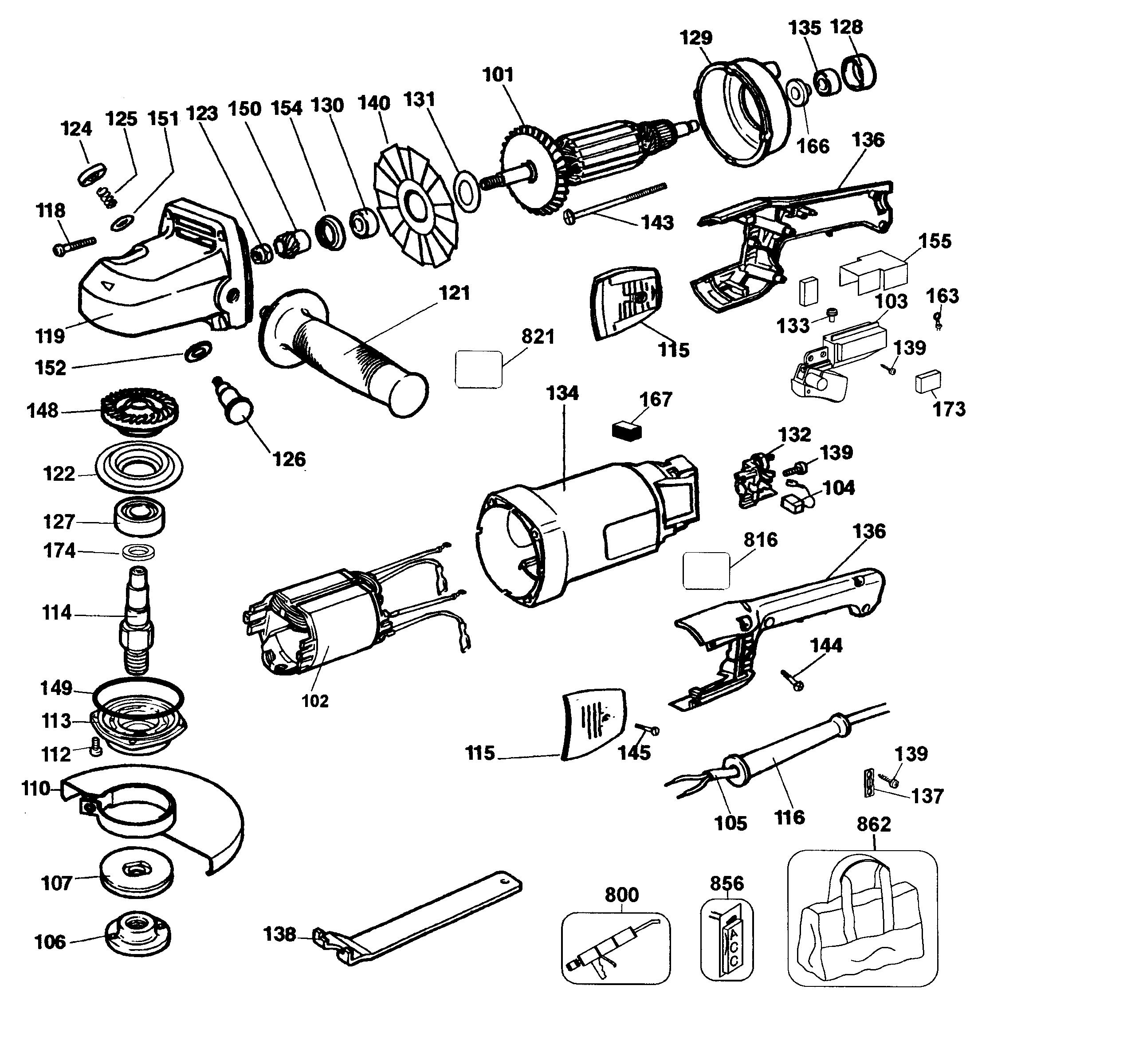 Dewalt model DW840 TYPE 2 grinder angle genuine parts