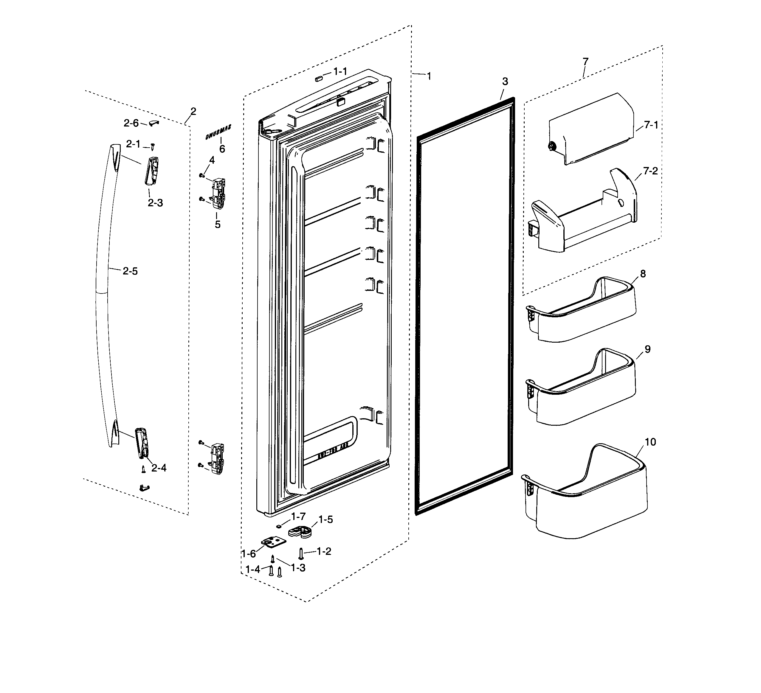 Samsung model RF20HFENBBC/AA-00 bottom-mount refrigerator