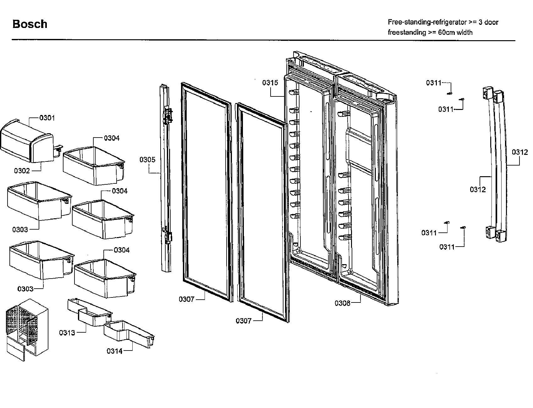 Bosch model B21CL81SNS/01 bottom-mount refrigerator