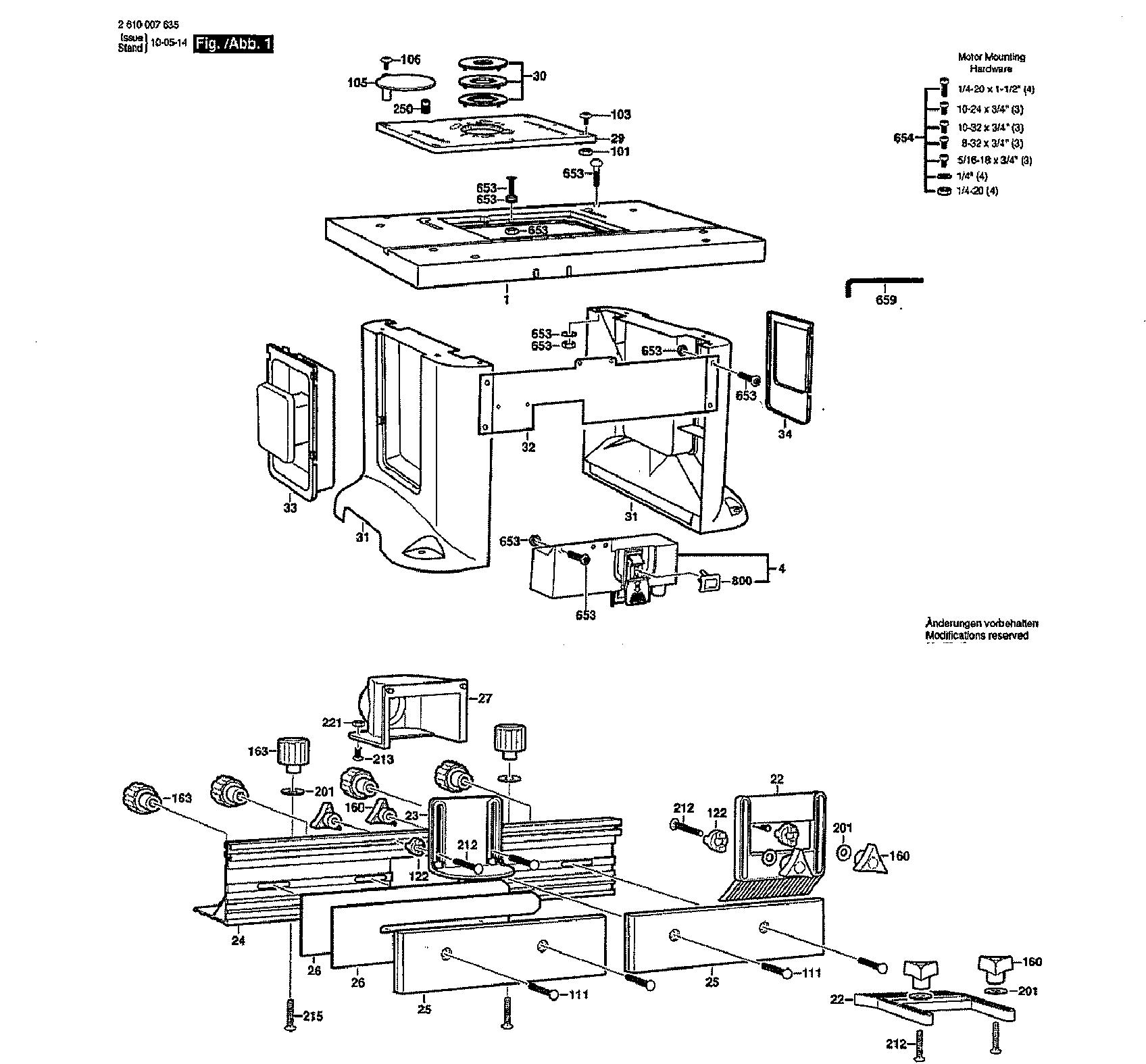 Bosch model RA1181 router accessory genuine parts