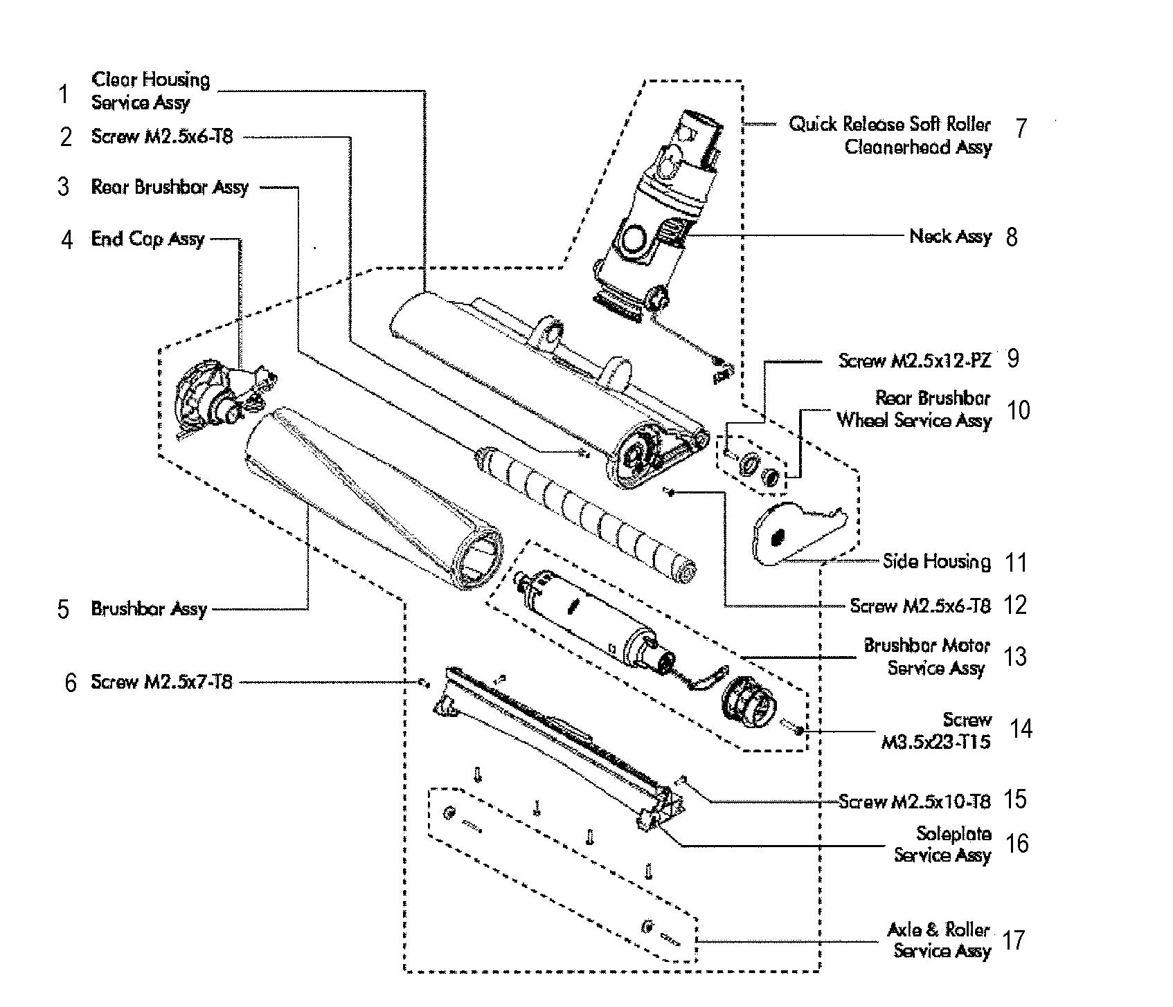 Dyson model V8-SV10 vacuum, hand-held genuine parts