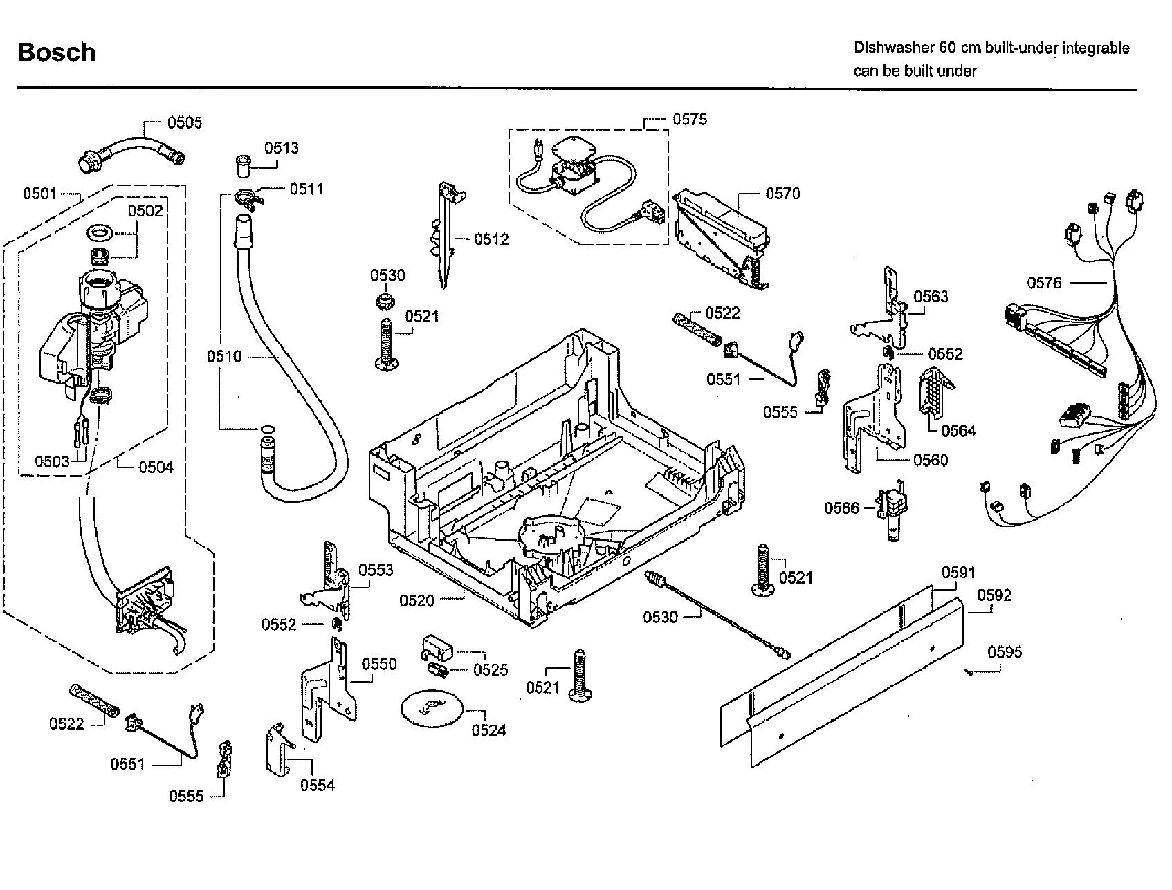 Bosch model SHX7ER55UC/73 dishwasher genuine parts