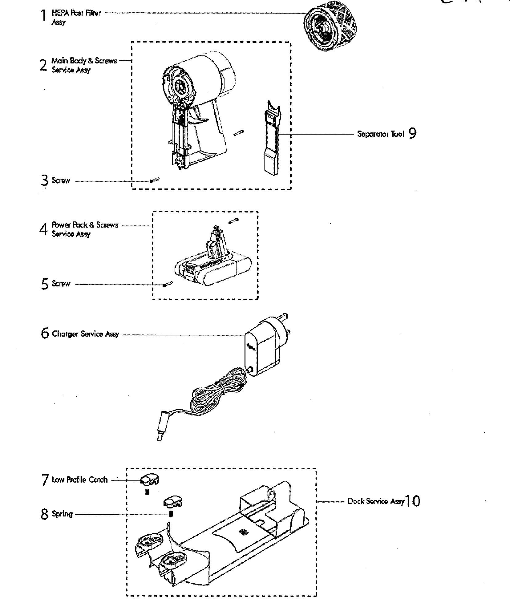 Dyson model V6-SV09 vacuum, hand-held genuine parts