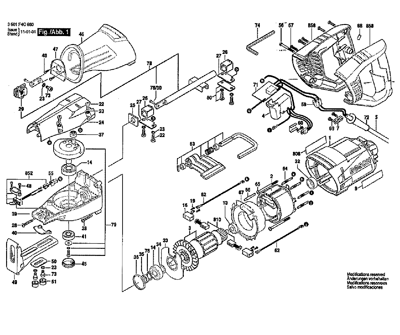 Bosch model RS7 saw reciprocating genuine parts