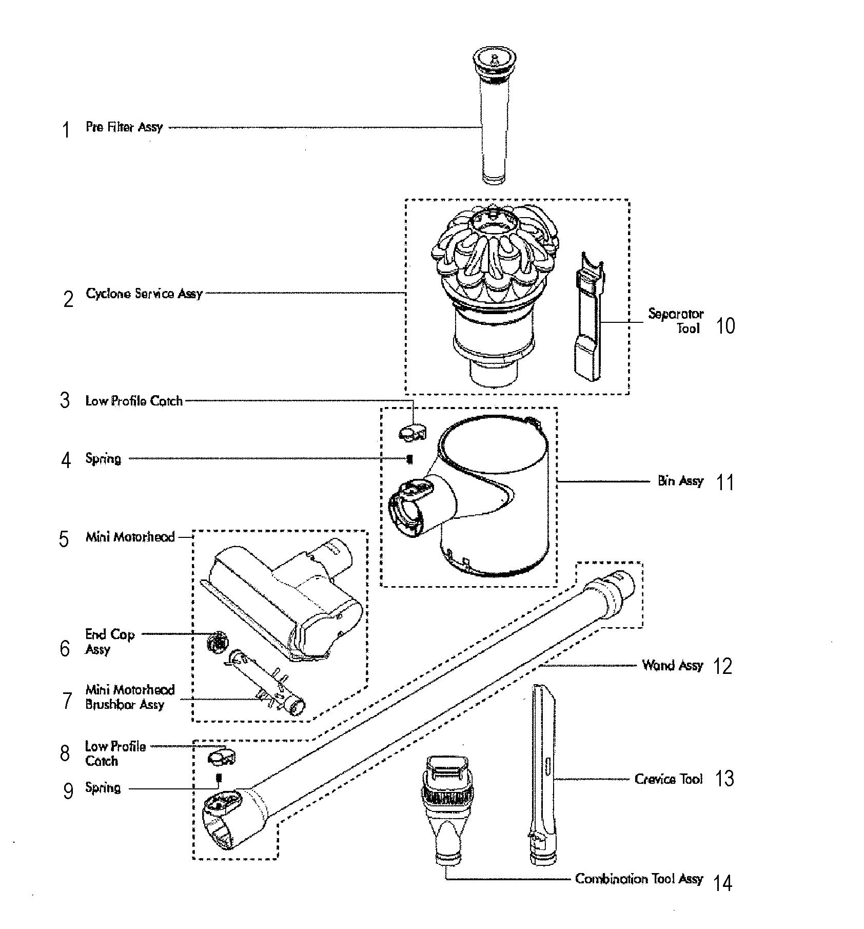Dyson model V6-SV03 vacuum, hand-held genuine parts