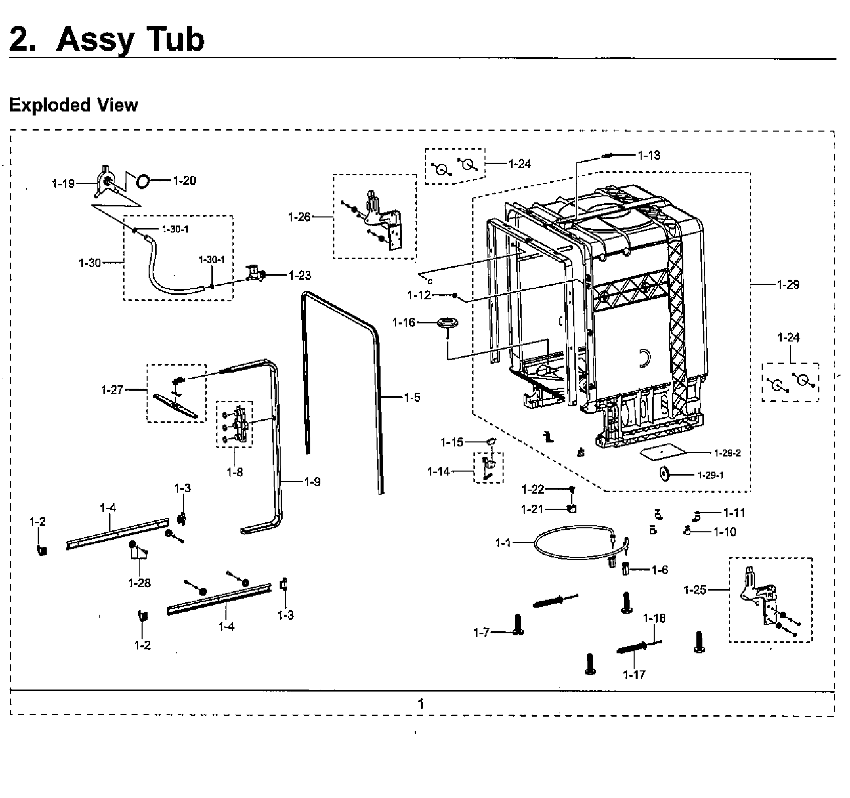 Samsung model DW80M2020US/AA-00 dishwasher genuine parts