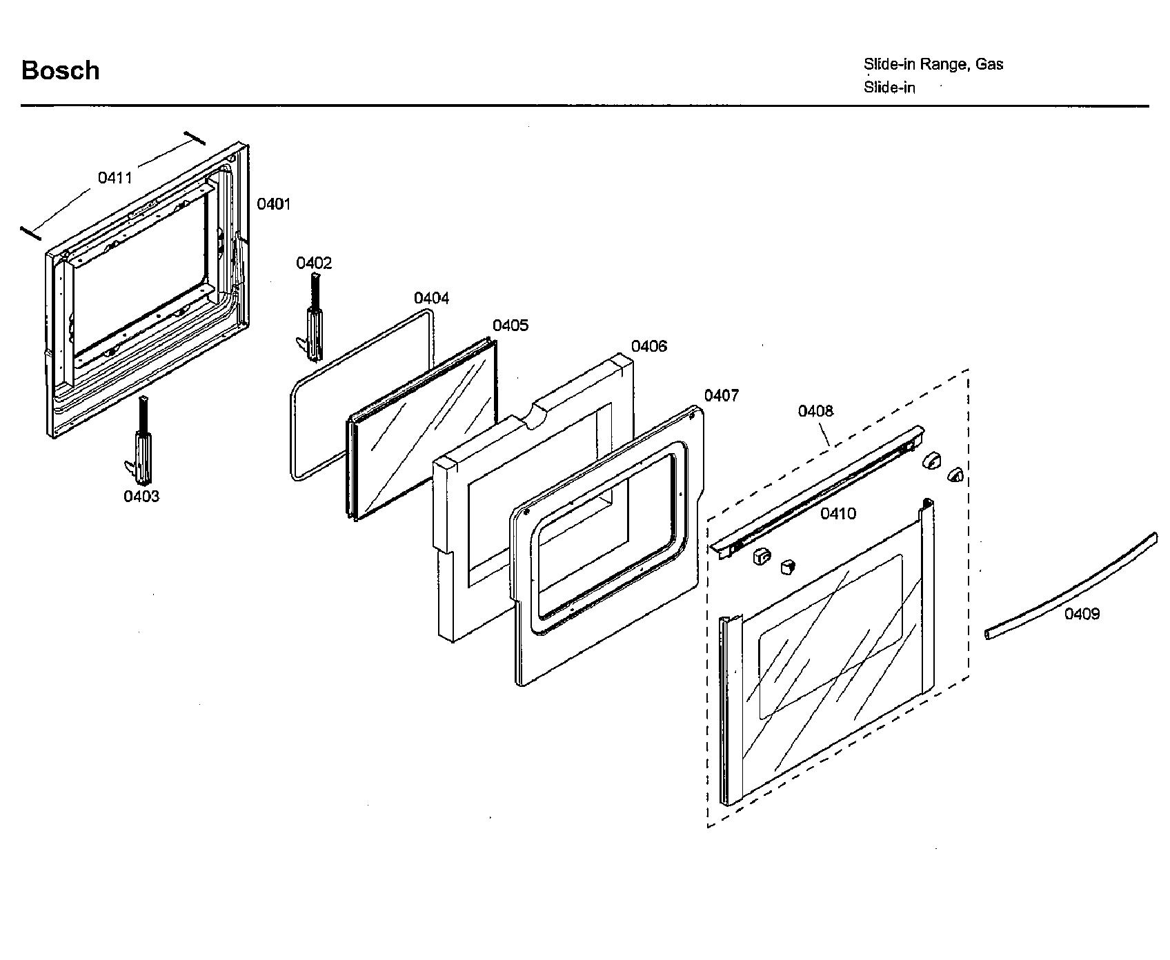 Bosch model HDI7282U/03 slide-in range, electric/gas