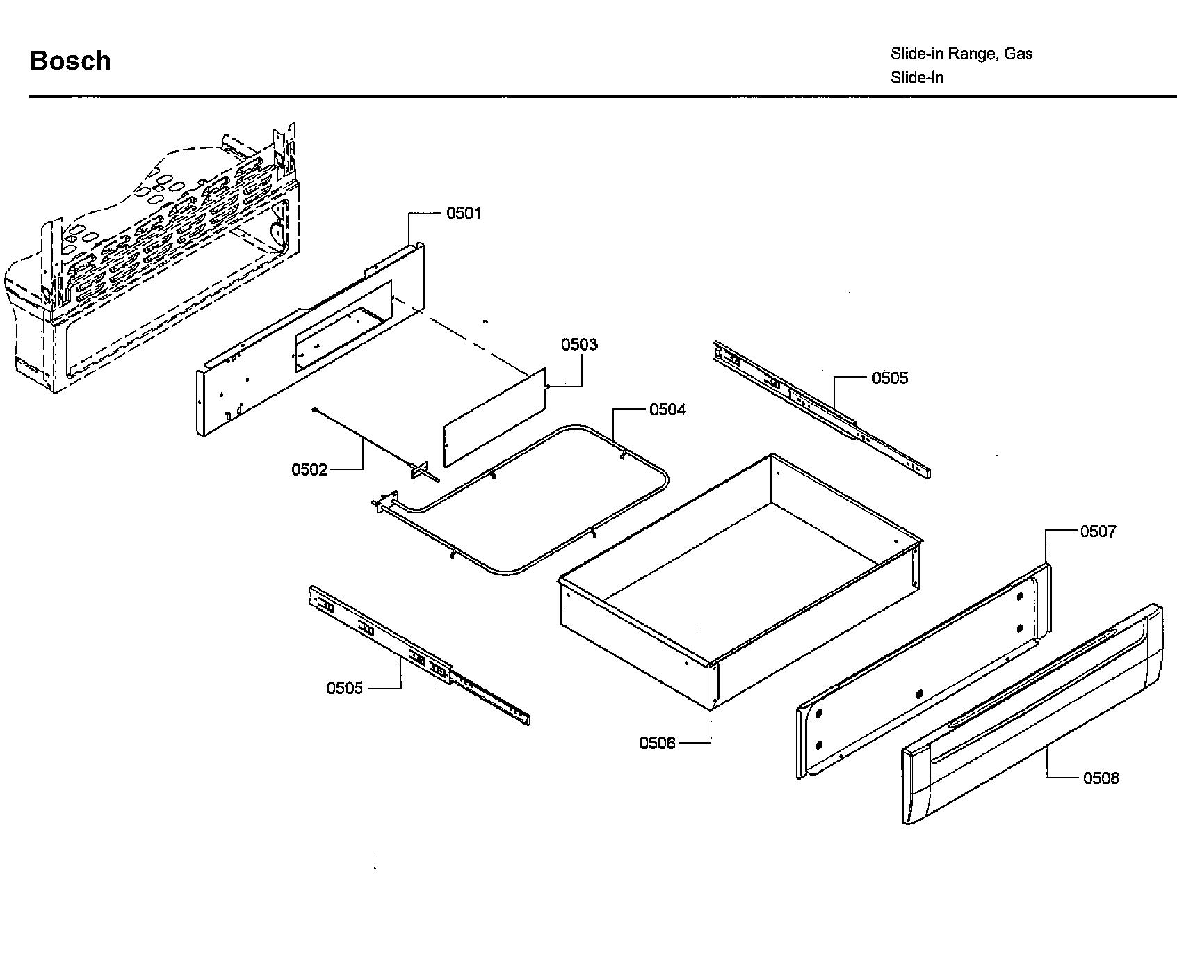 Bosch model HDI7282U/07 slide-in range, electric/gas