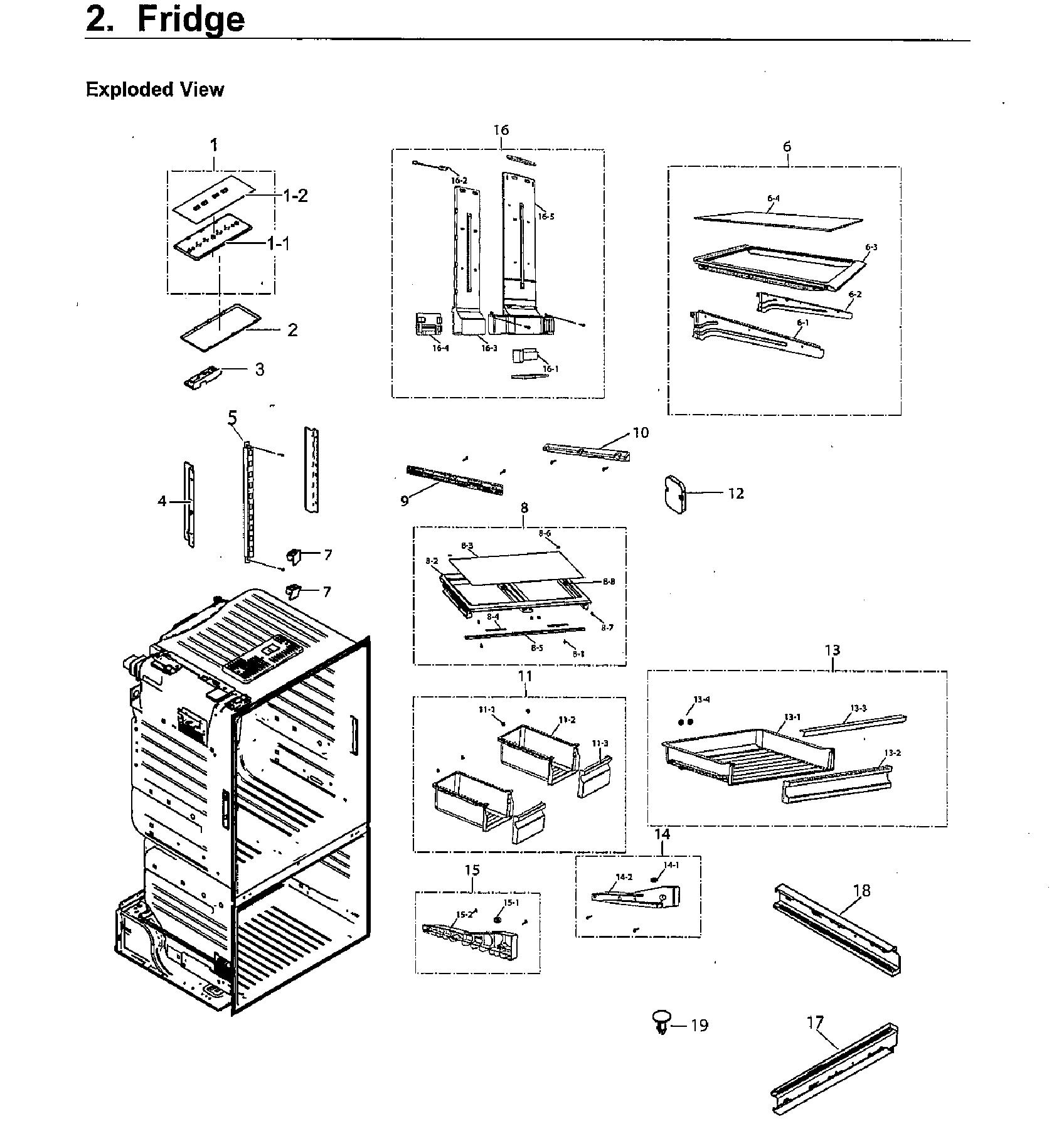 Samsung model RF220NCTASG/AA-00 bottom-mount refrigerator