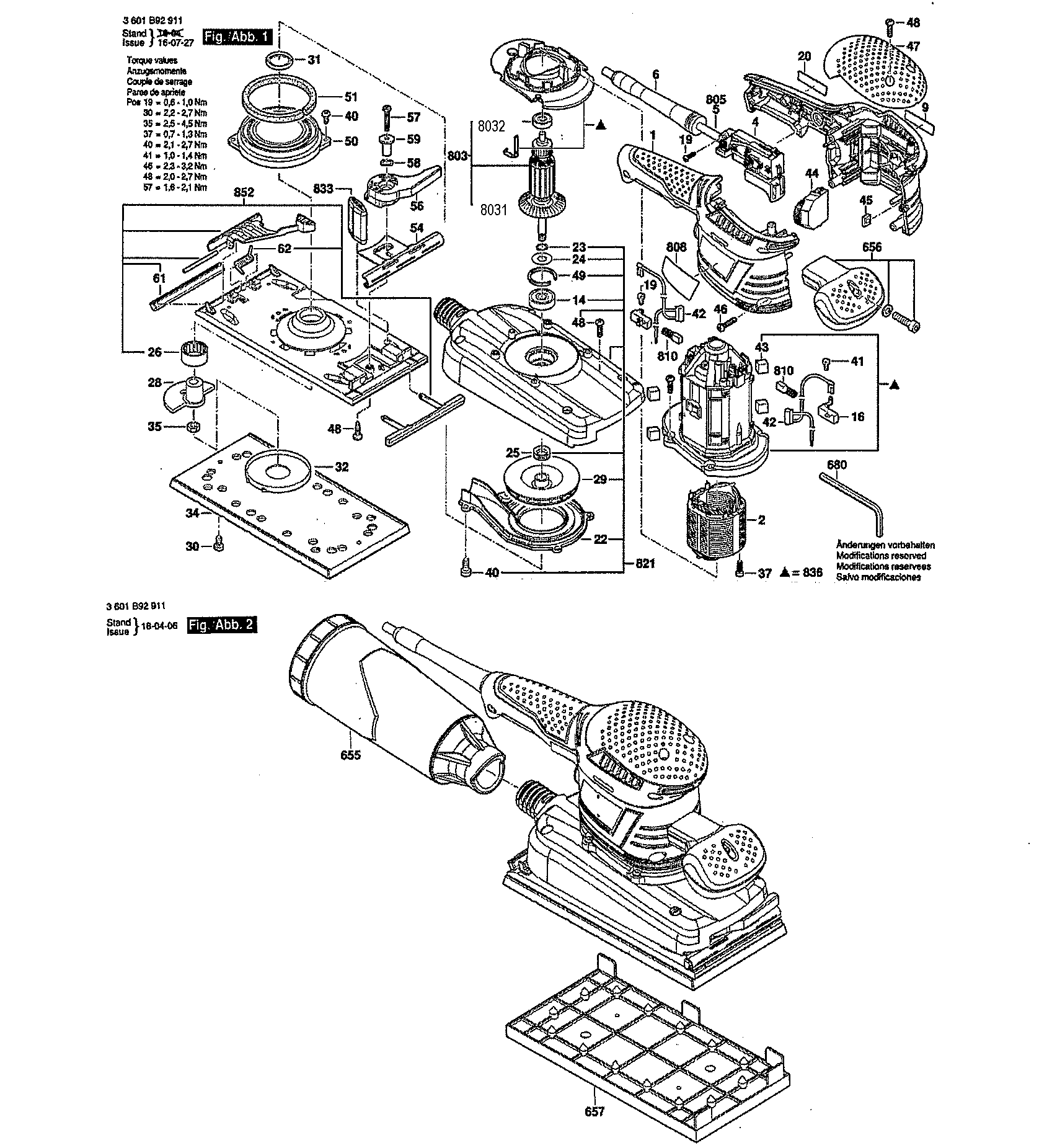 Bosch model OS50VC sander genuine parts