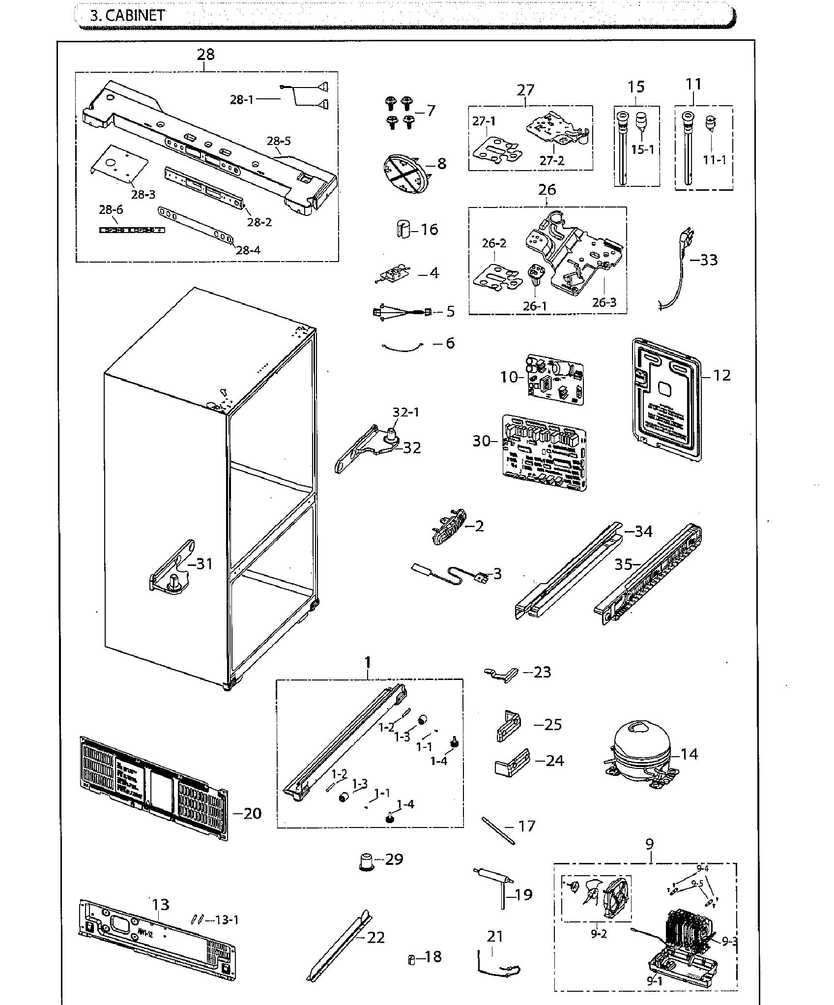 Samsung model RF260BEAESG/AA-02 bottom-mount refrigerator