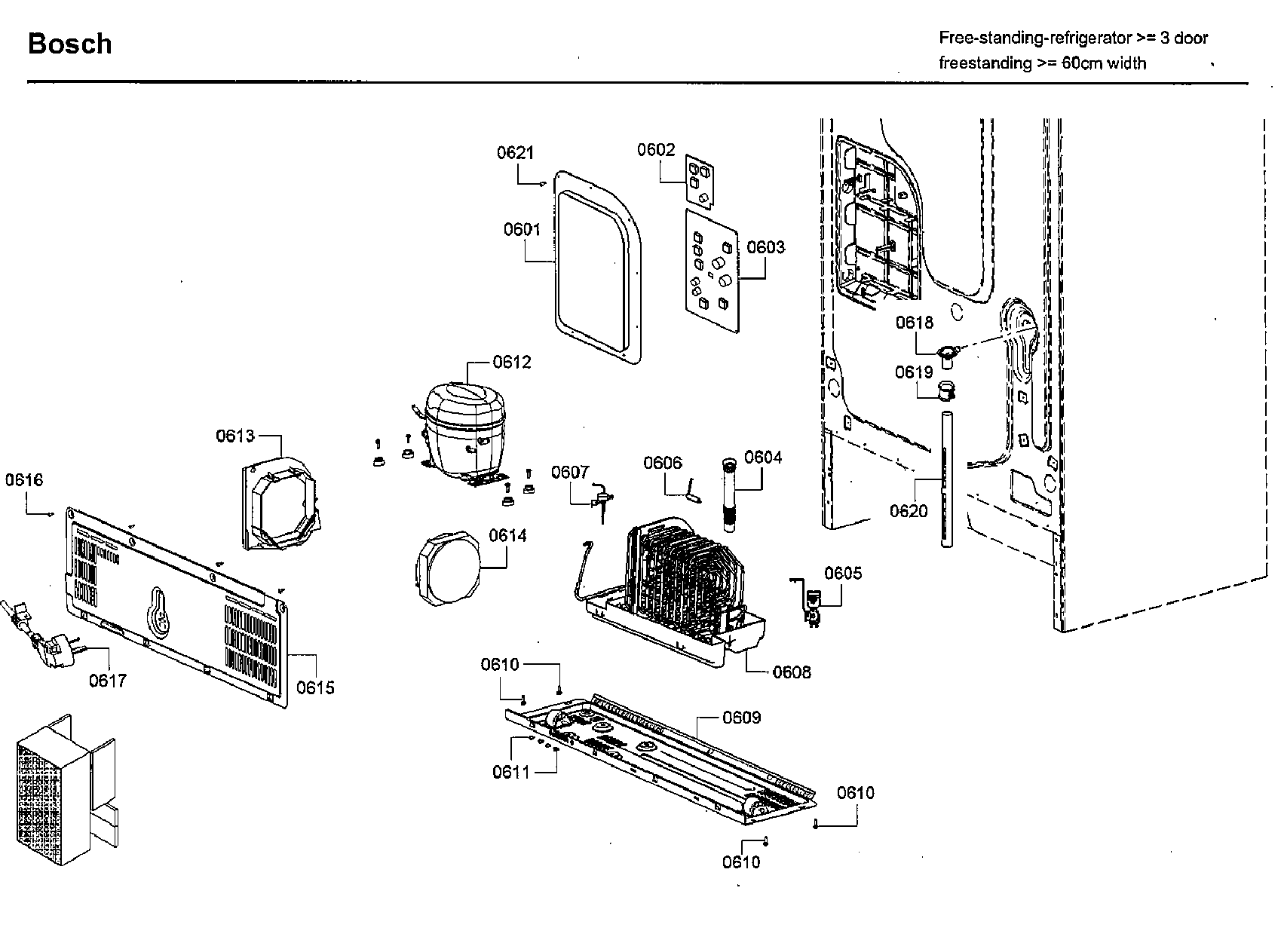 Bosch model B21CL80SNS/02 bottom-mount refrigerator