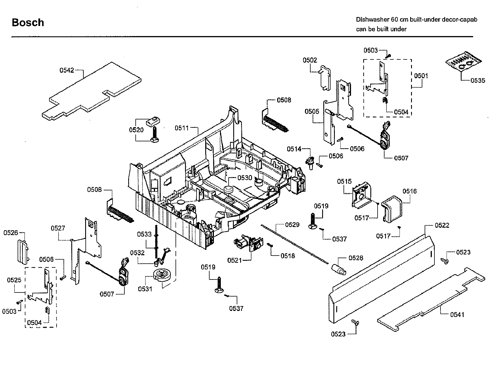 Bosch model SHE43RL5UC/64 dishwasher genuine parts