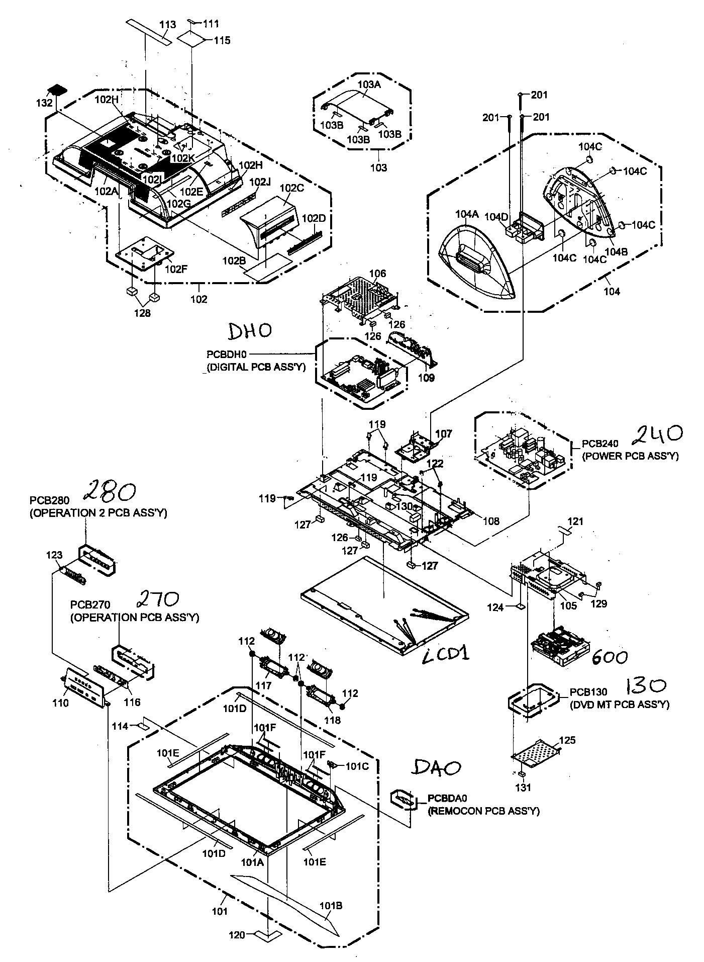 Sharp model LC-19DV22U tv/vcr or dvd combo genuine parts