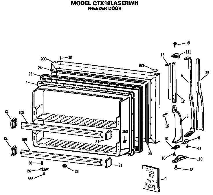 Hotpoint model CTX18LASERWH top-mount refrigerator genuine