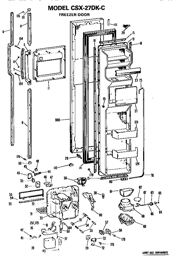 Hotpoint model CSX27DKC side-by-side refrigerator genuine