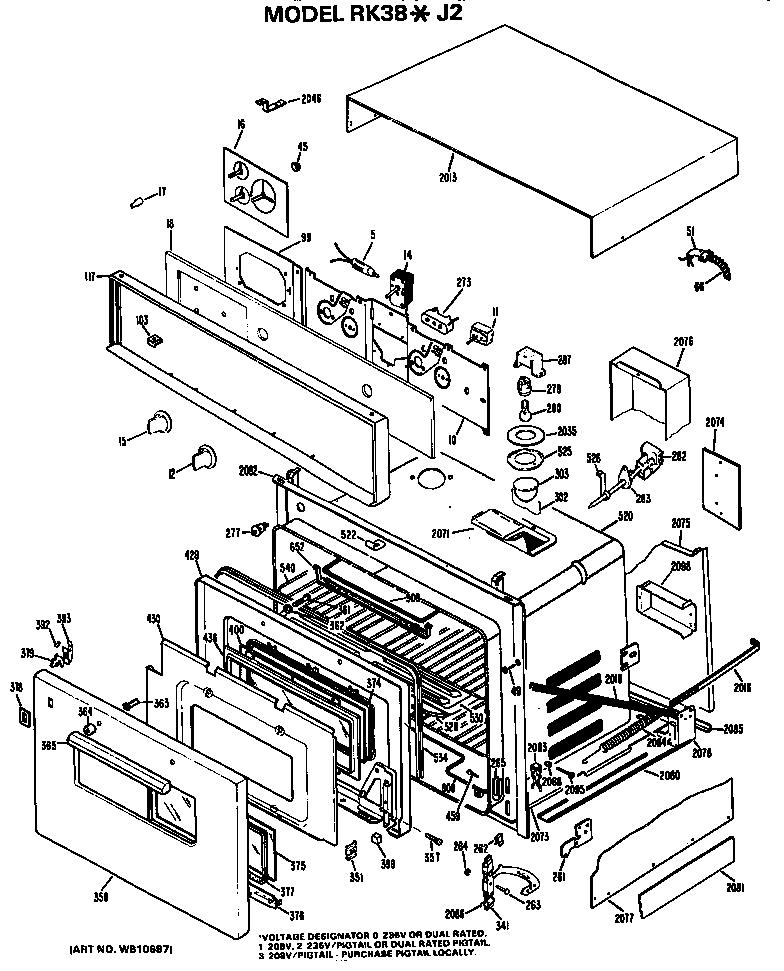 Hotpoint model RK38*J2 ranges, electric genuine parts