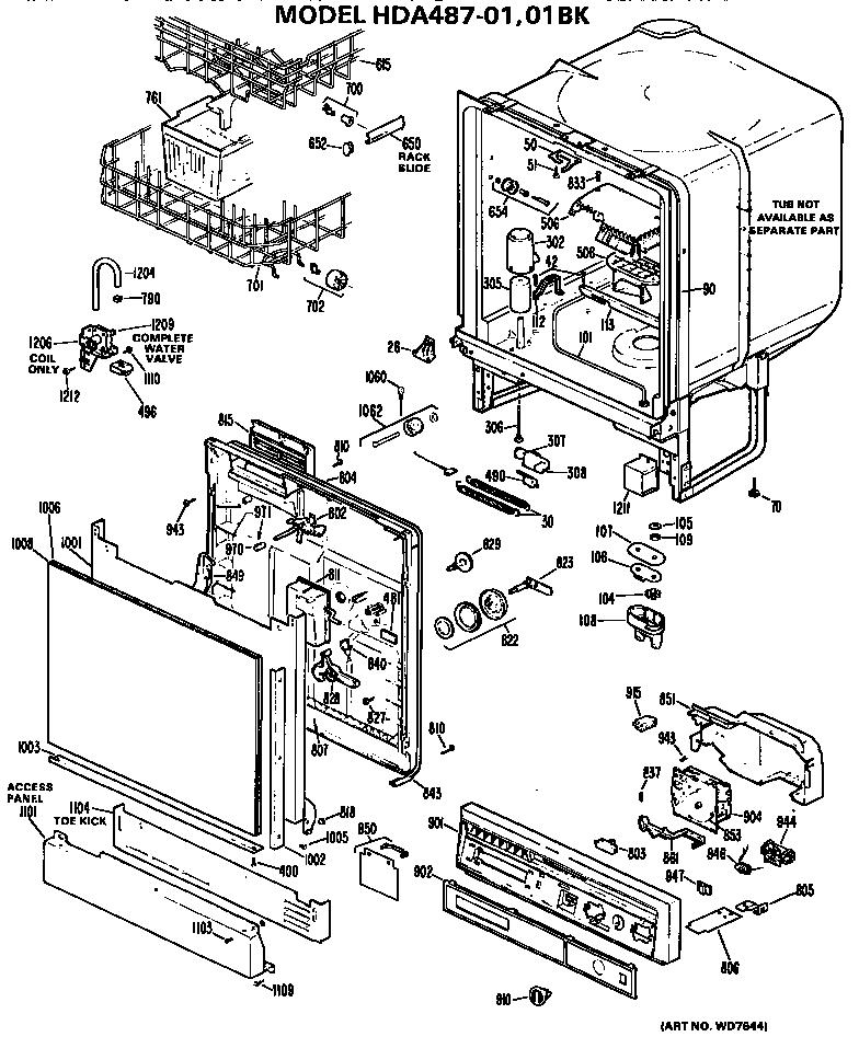 Hotpoint model HDA487-01 dishwasher genuine parts
