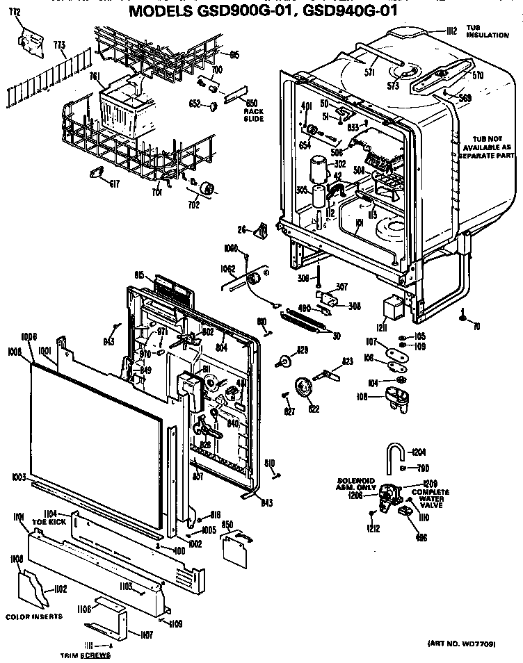 Ge model GSD940G-01 dishwasher genuine parts