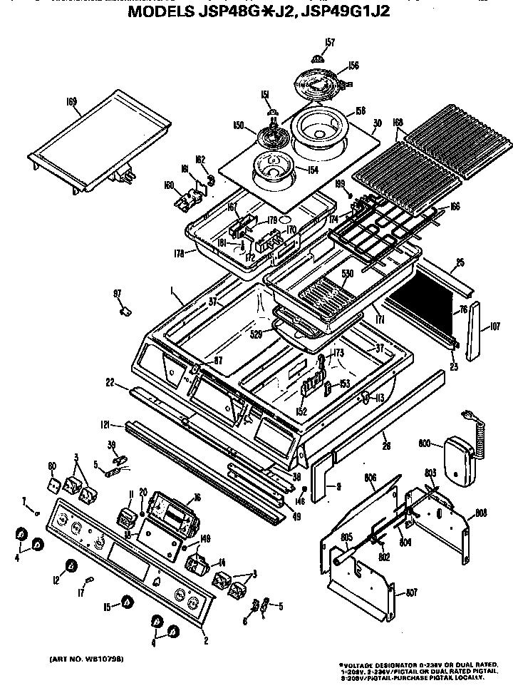 Ge model JSP48G*J2 slide-in range, electric genuine parts