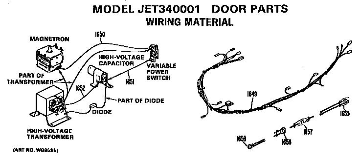 Ge model JET340001 microwave/hood combo genuine parts