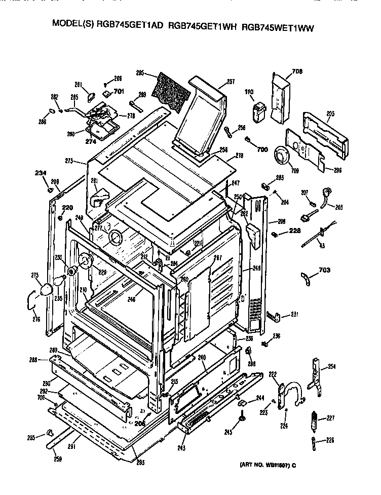 Hotpoint model RGB745WET1WW free standing, gas genuine parts