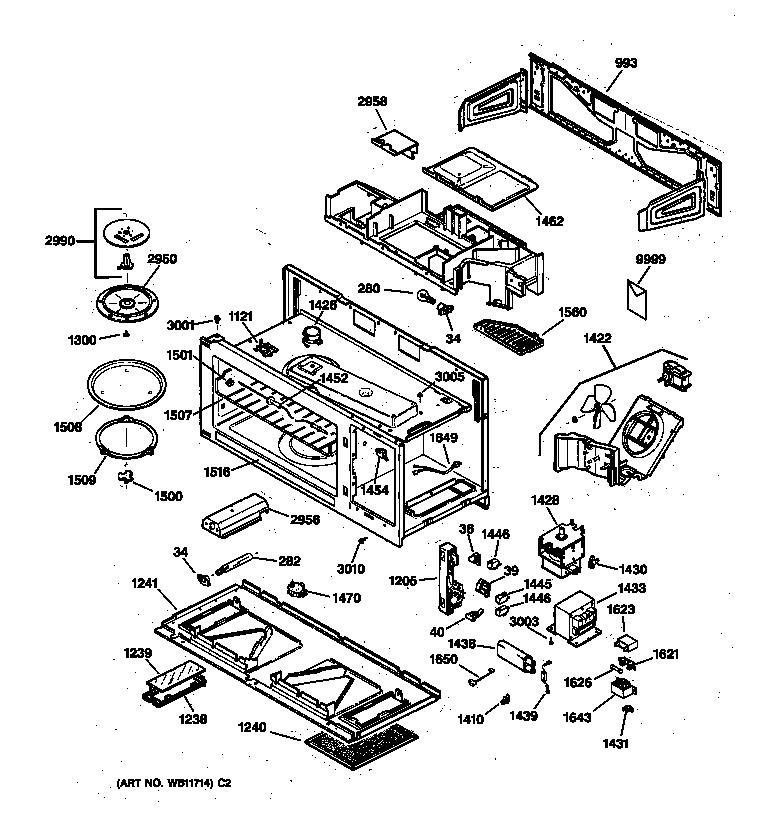 Ge model JVM1340BW02 microwave/hood combo genuine parts